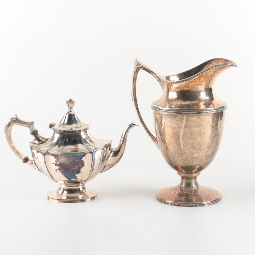 Derby Silver Plate Pitcher And Wallace Silver Plate Teapot Ebth
