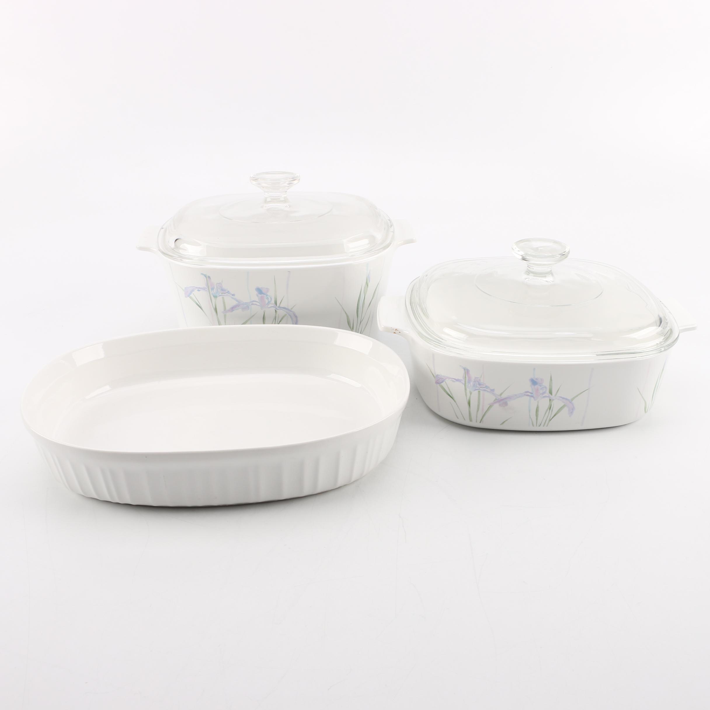 Corning Ware Corelle Shadow Iris and French White Bakeware EBTH