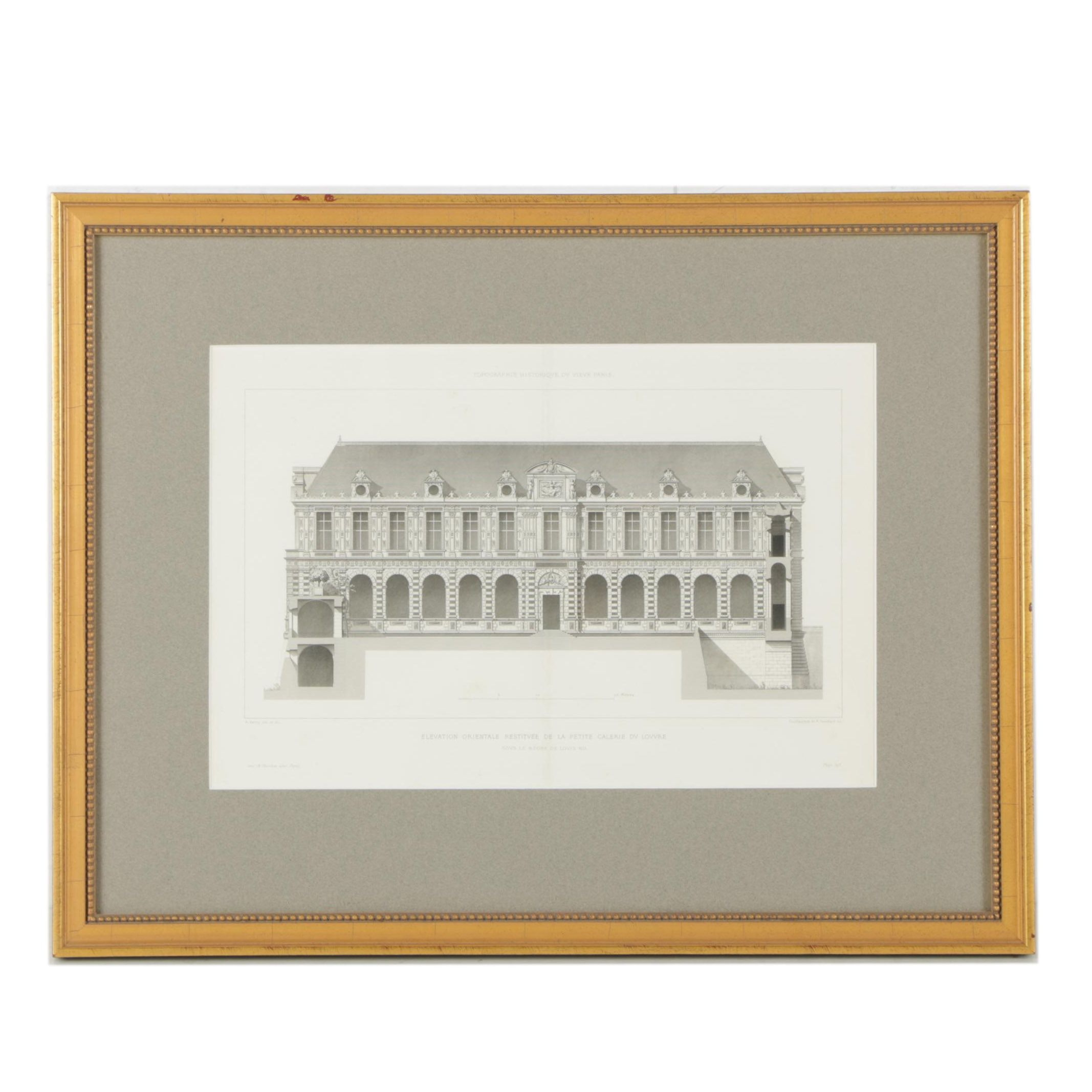 Antique French Architectural Lithograph of the Louvre's Galerie d'Apollon