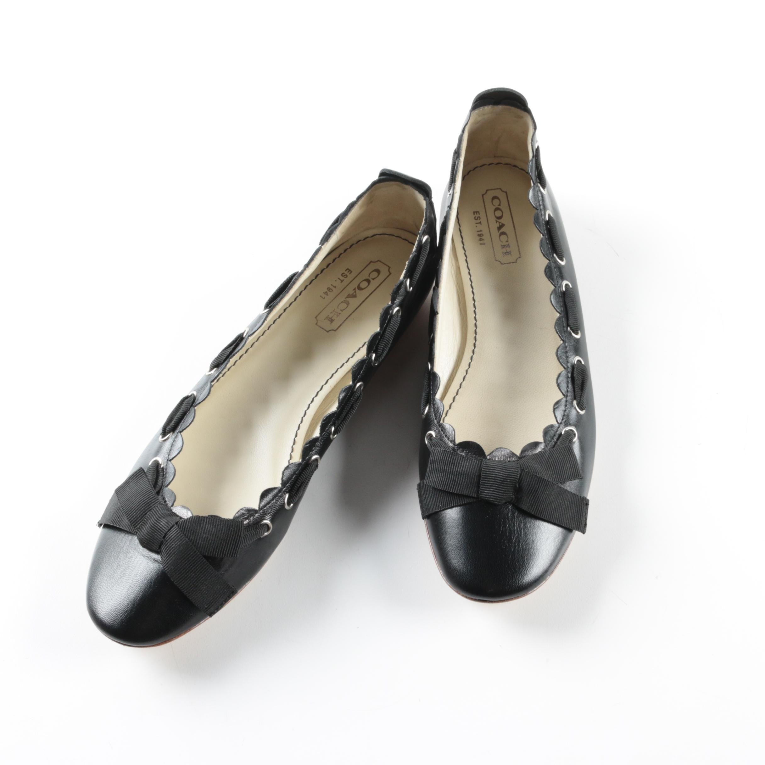 Coach Tilly Scalloped Black Leather Ballet Style Flats