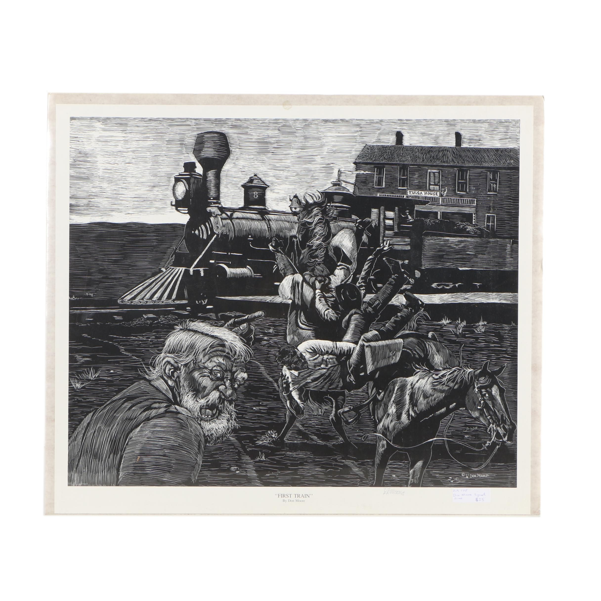 """Don Moore Lithograph """"First Train"""""""