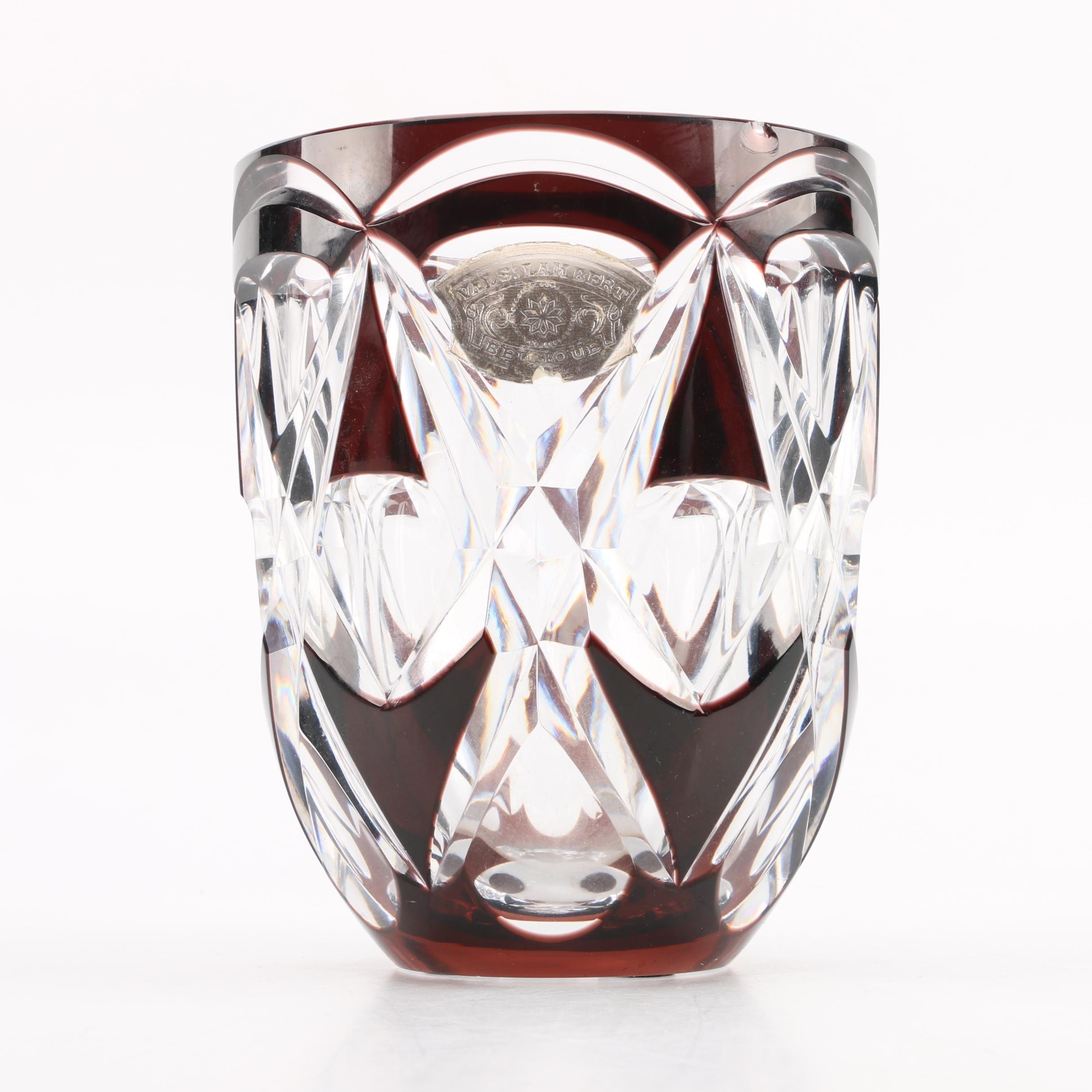 Vintage Val St. Lambert Ruby Cut Crystal Vase