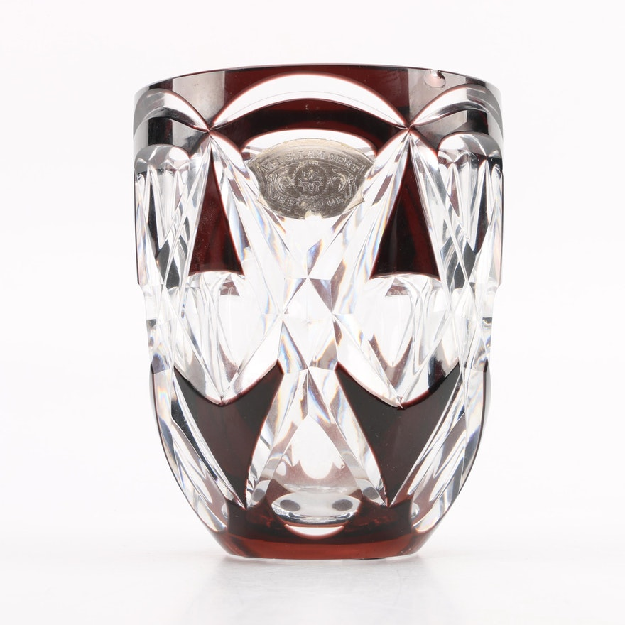 Vintage Val St Lambert Ruby Cut Crystal Vase Ebth