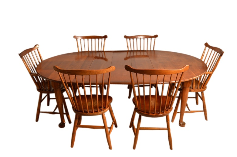 Maple Kitchen Table With Chair And Bench Ebth: Stickley Colonial Style Maple Dining Table And Six Windsor
