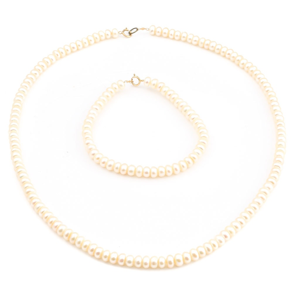 Freshwater Pearl Demi Parure with 10K Yellow Gold Clasps