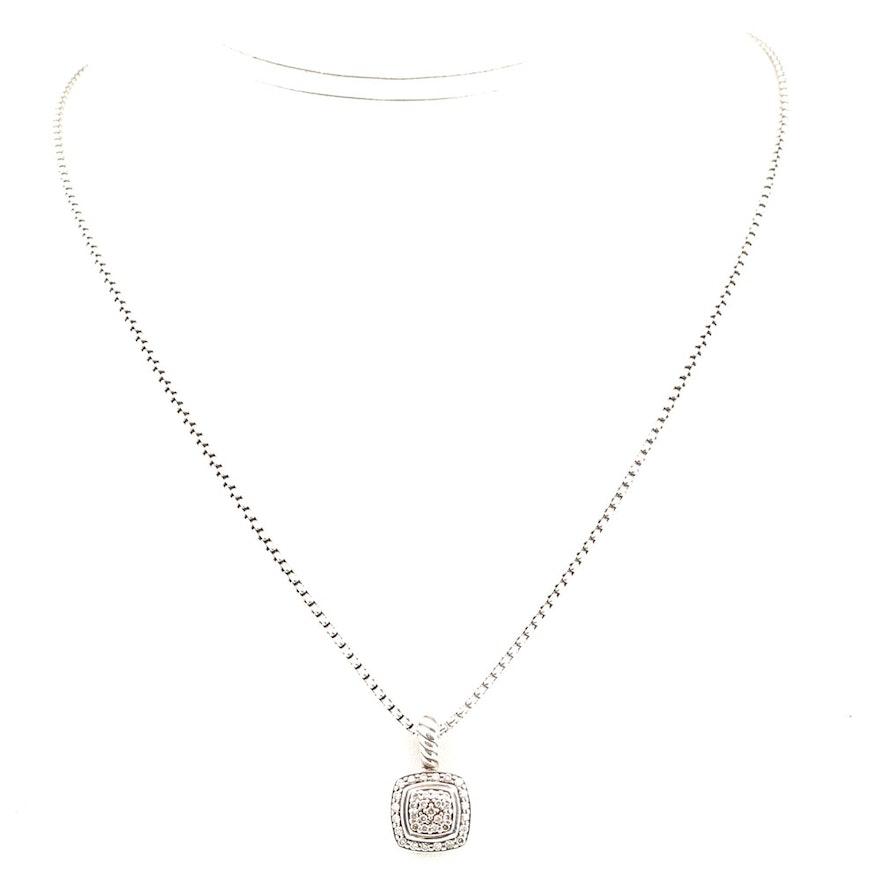 David yurman sterling silver diamond pendant necklace ebth david yurman sterling silver diamond pendant necklace aloadofball Gallery