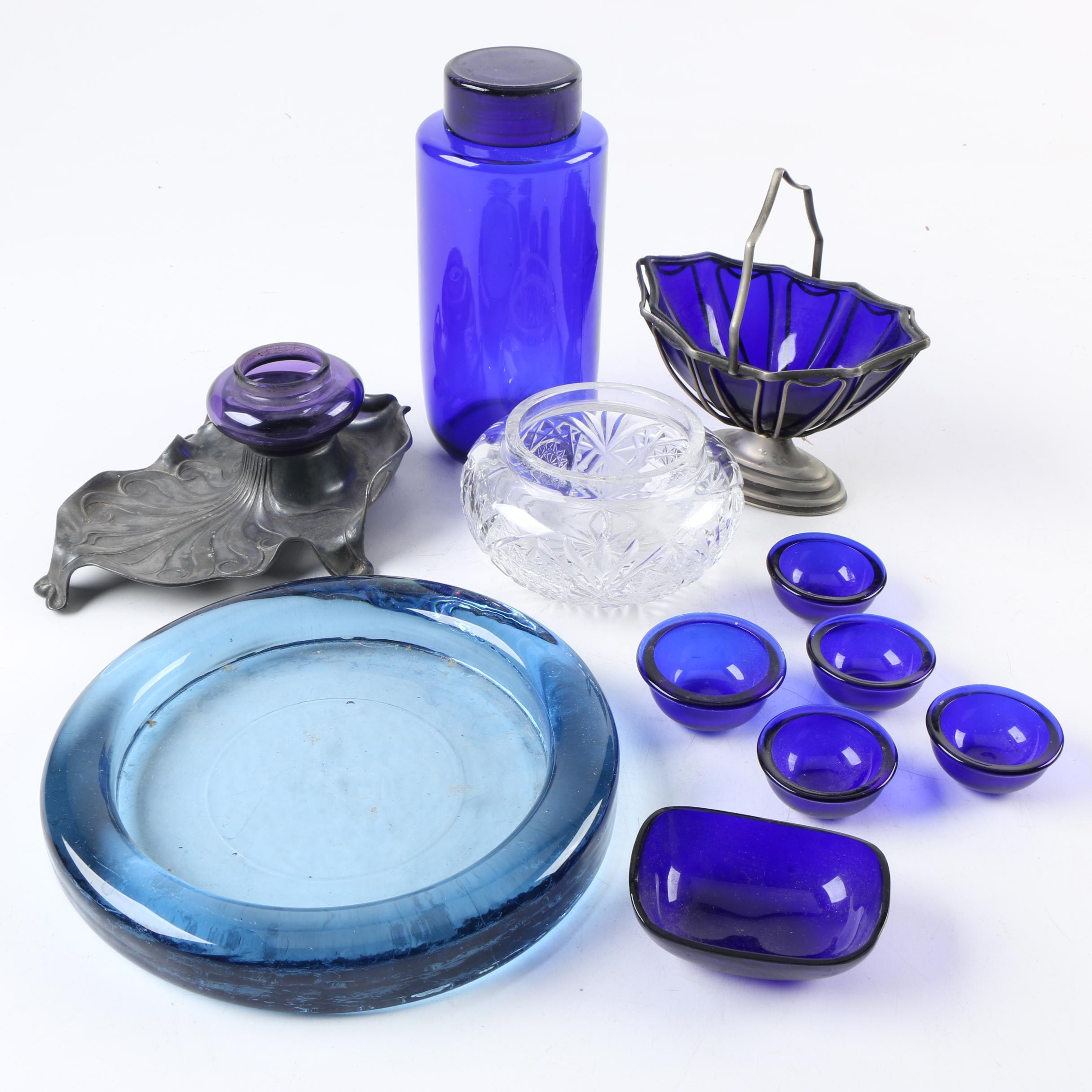 Vintage Glass Inkwell, Vase, Ash Receiver and Tableware