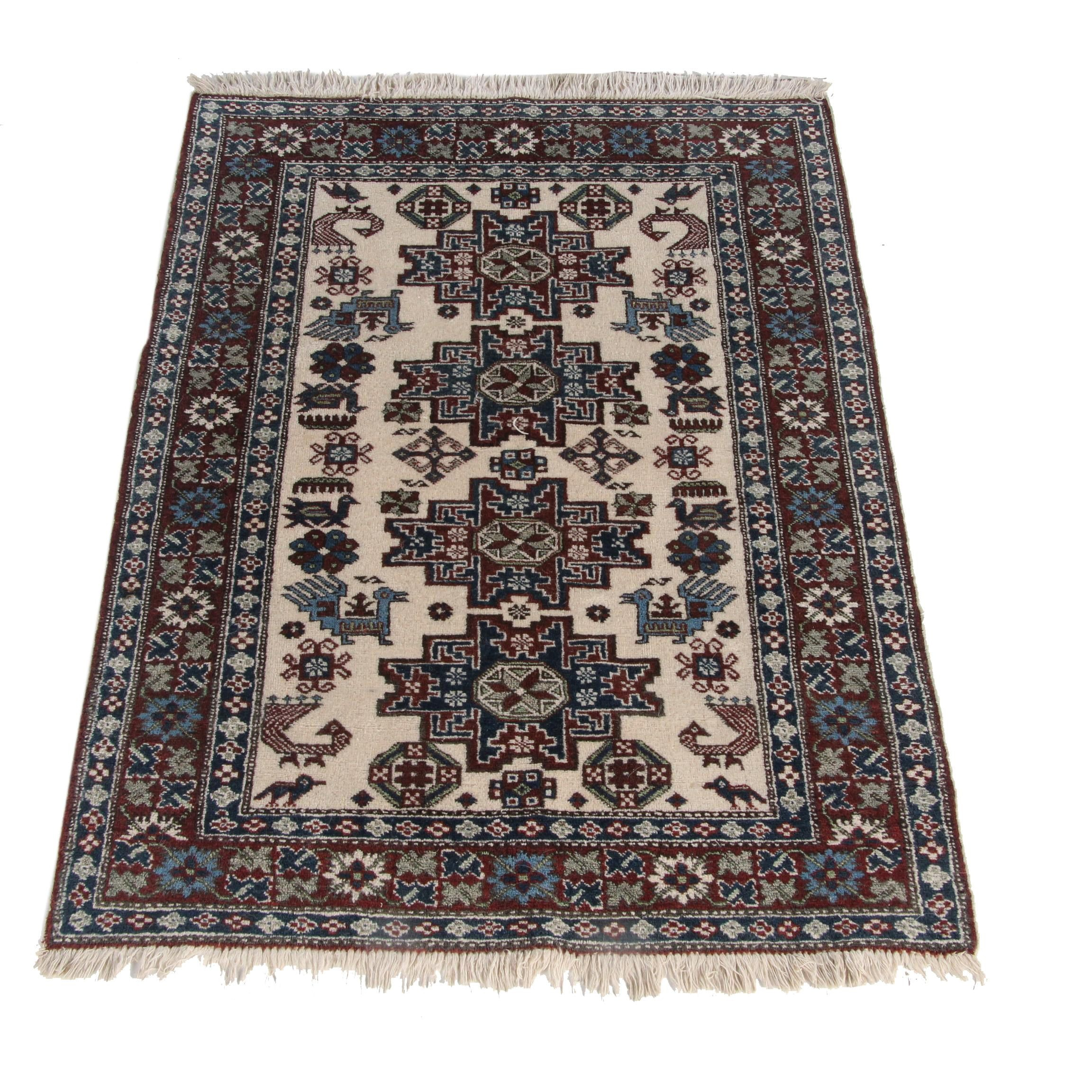 Hand-Knotted Caucasian Lesghi Wool Accent Rug