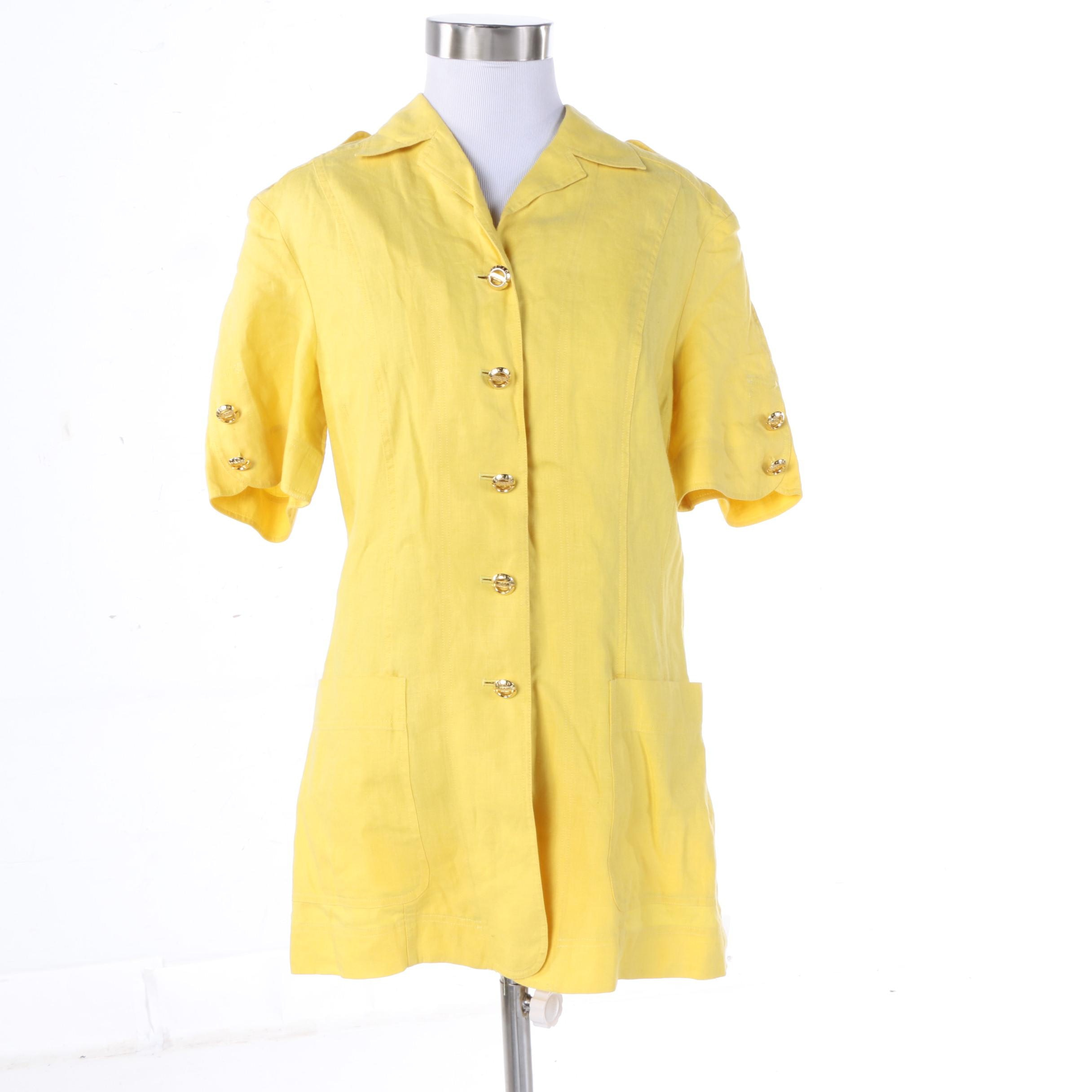 Vintage Escada Margaretha Ley Yellow Linen Short Sleeve Jacket