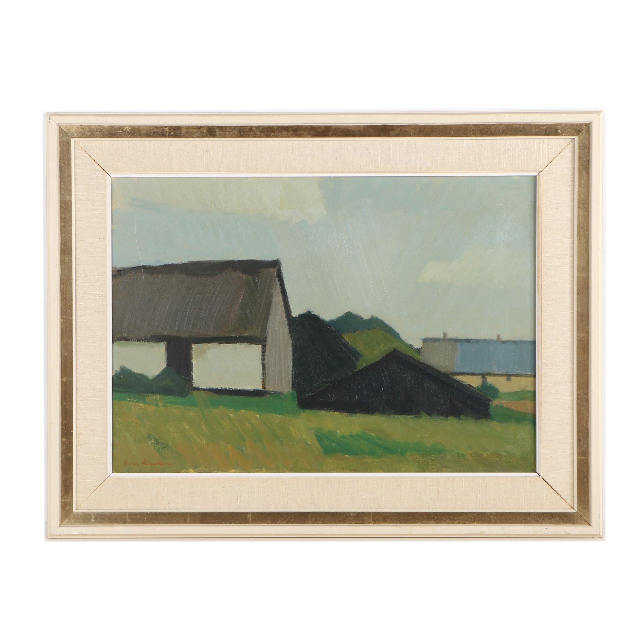 Oil Painting of Pastoral Landscape
