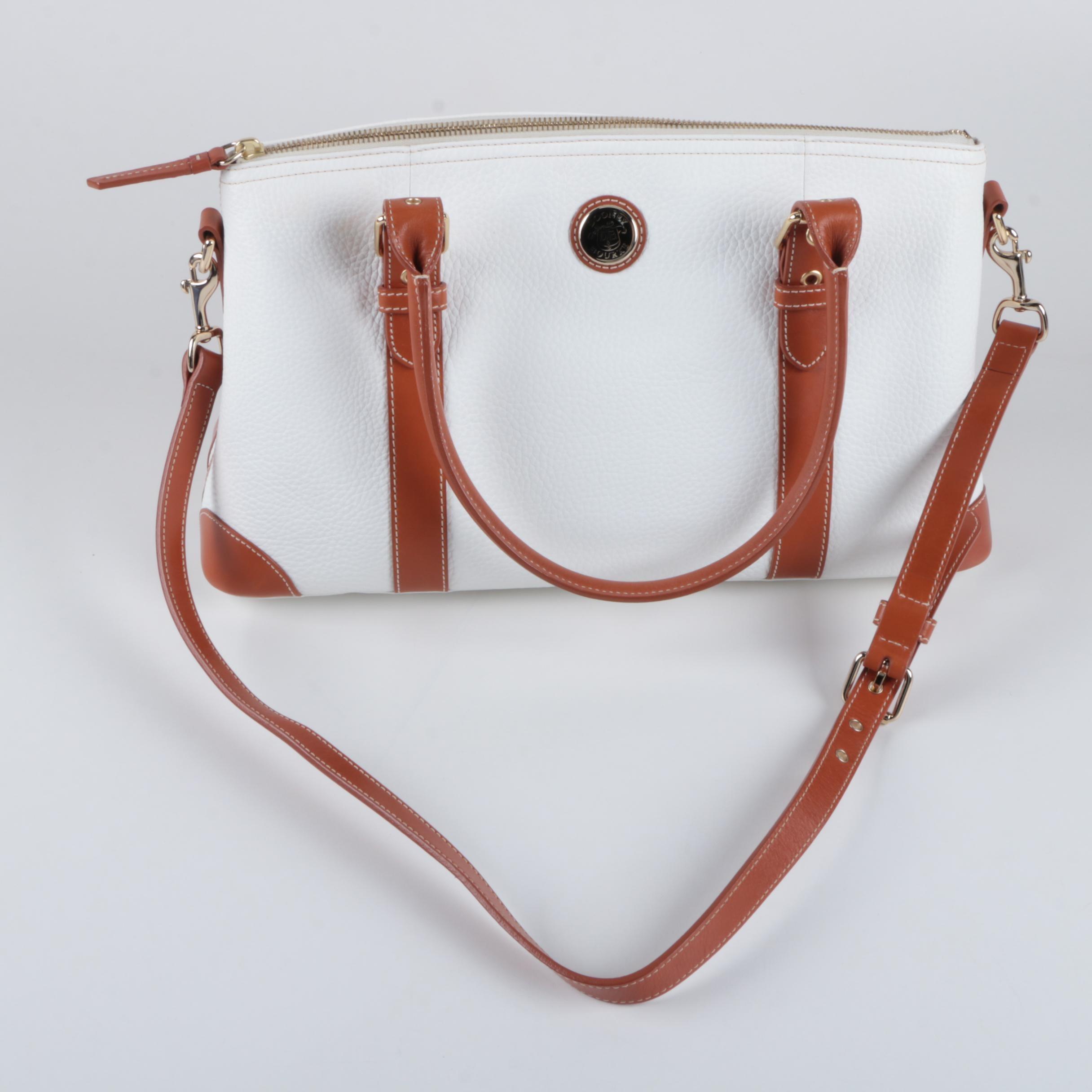 Dooney & Bourke Grained White Leather Carryall Satchel
