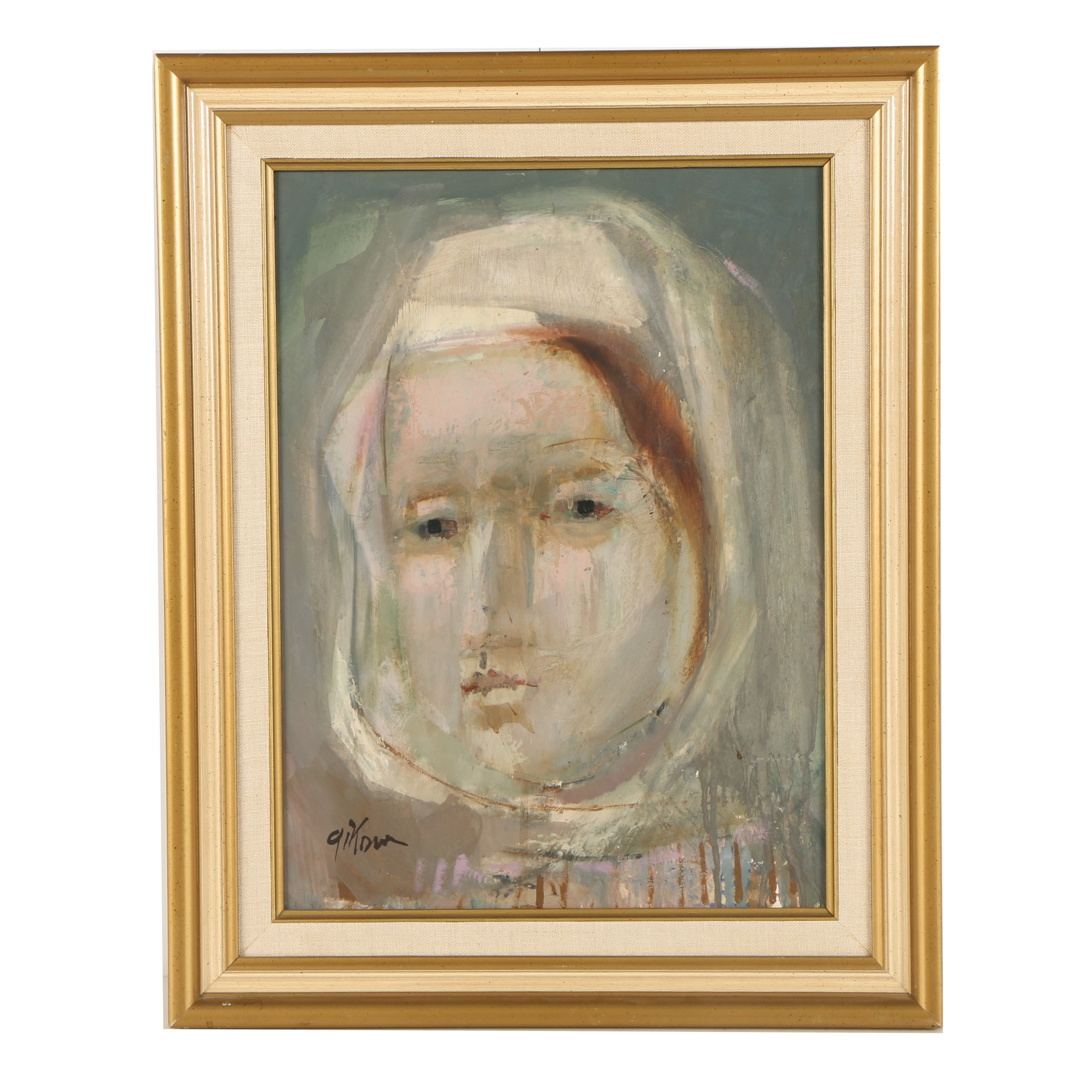 Mid 20th Century Oil Painting of Abstract Portrait