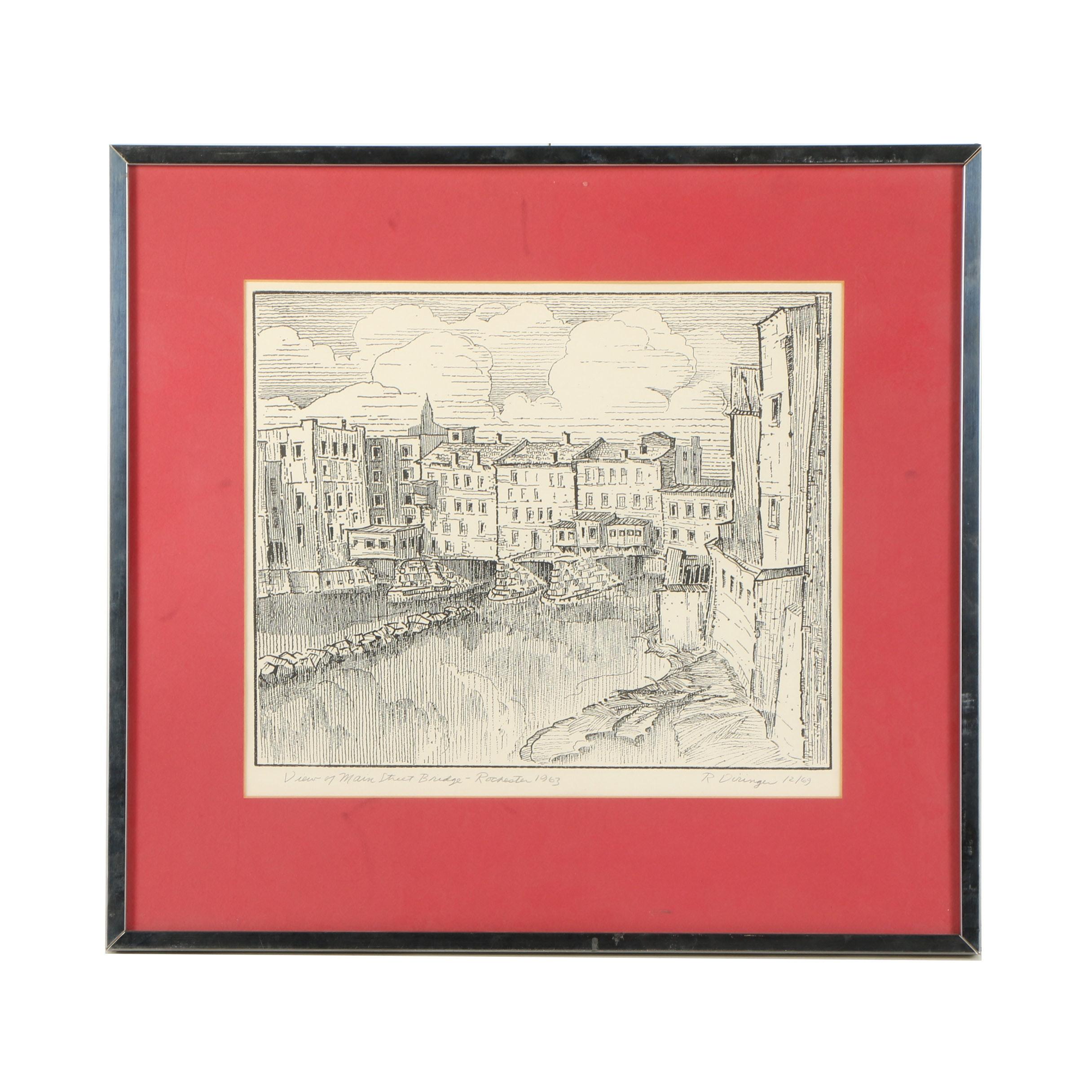 """R. Diringer Woodblock """"View of Main Street Bridge"""""""