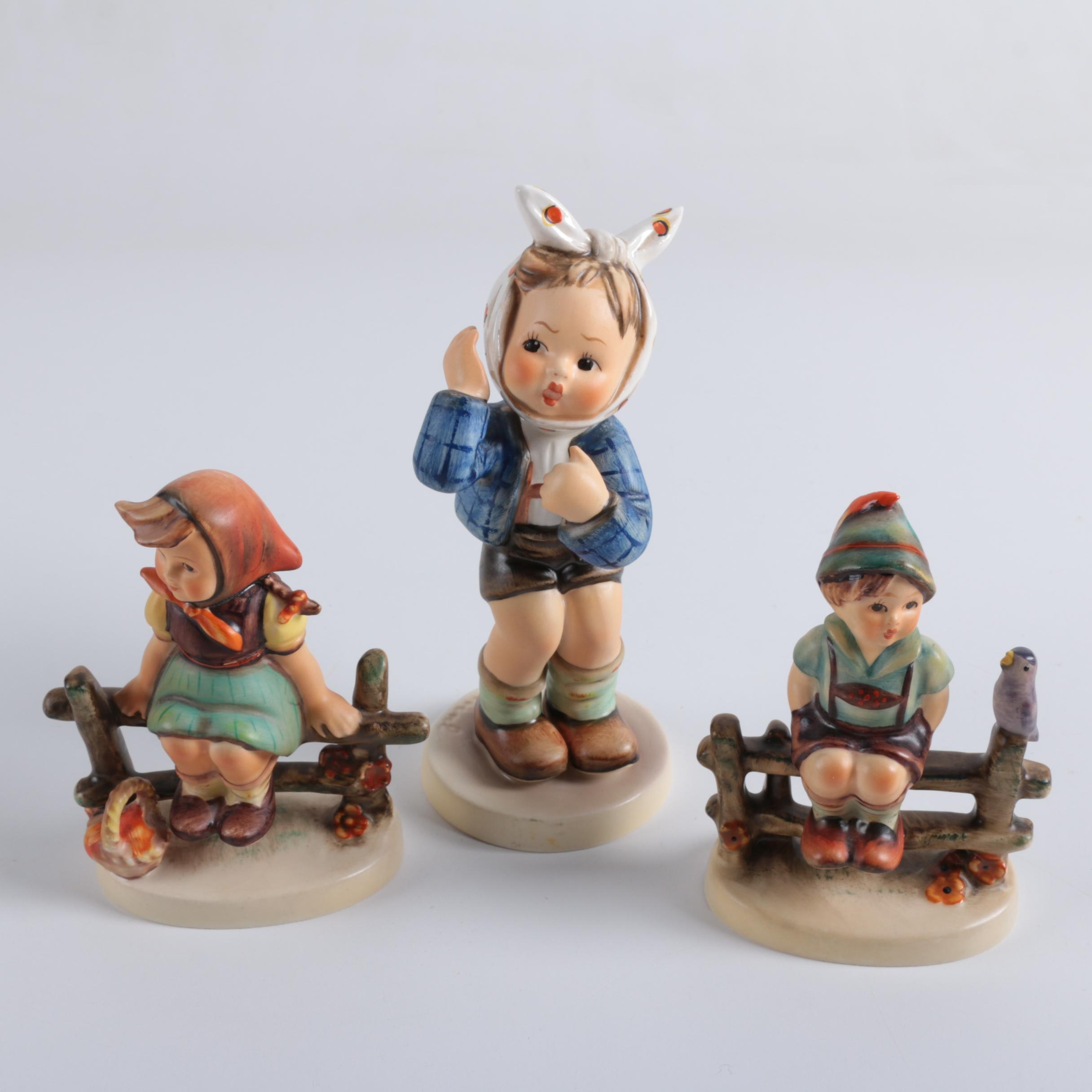 "Hummel Figurines ""Just Resting"", ""Boy with Toothache"" and ""Wayside Harmony"""