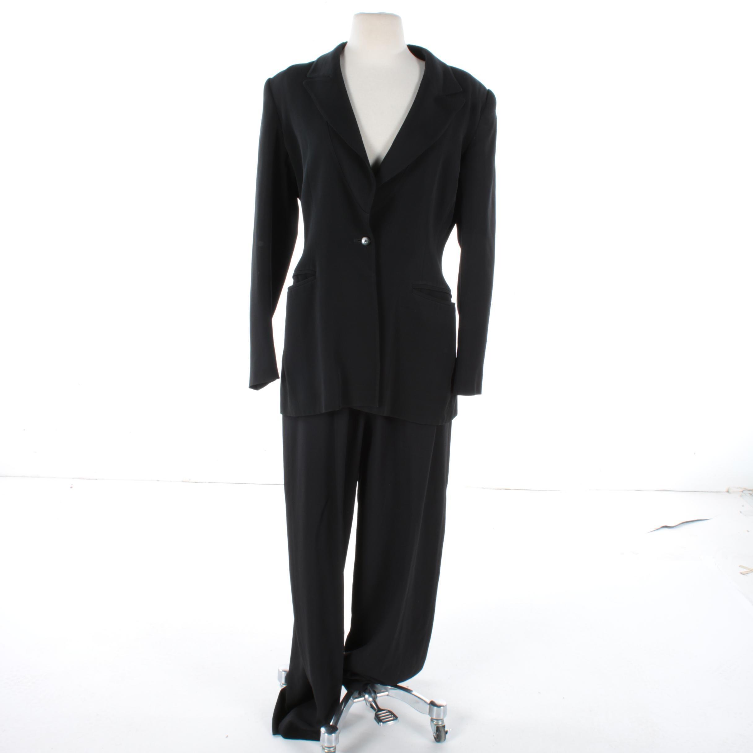 Women's State of Claude Montana Black Pant Suit