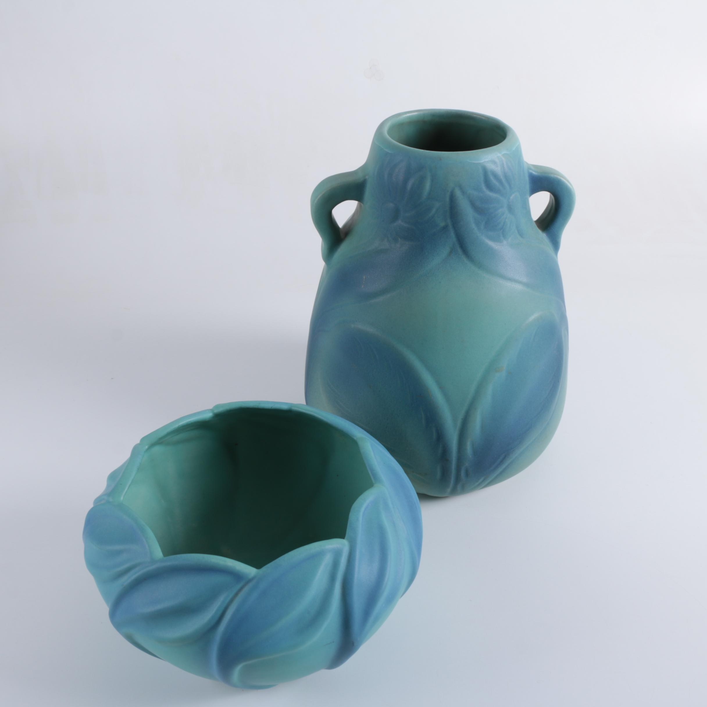 "Van Briggle Pottery ""Onion Bulb"" Vase with a Bowl in Ming Blue"