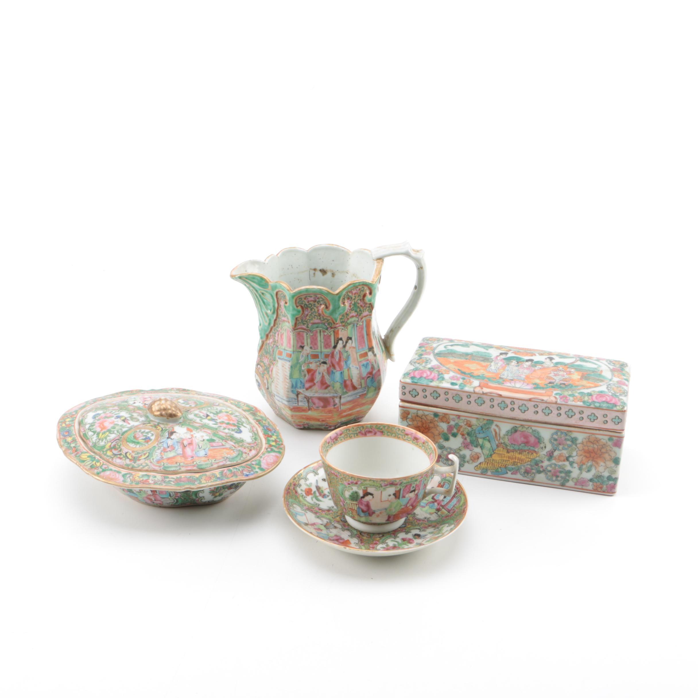 Chinese Rose Medallion Porcelain Tableware and Trinket Box