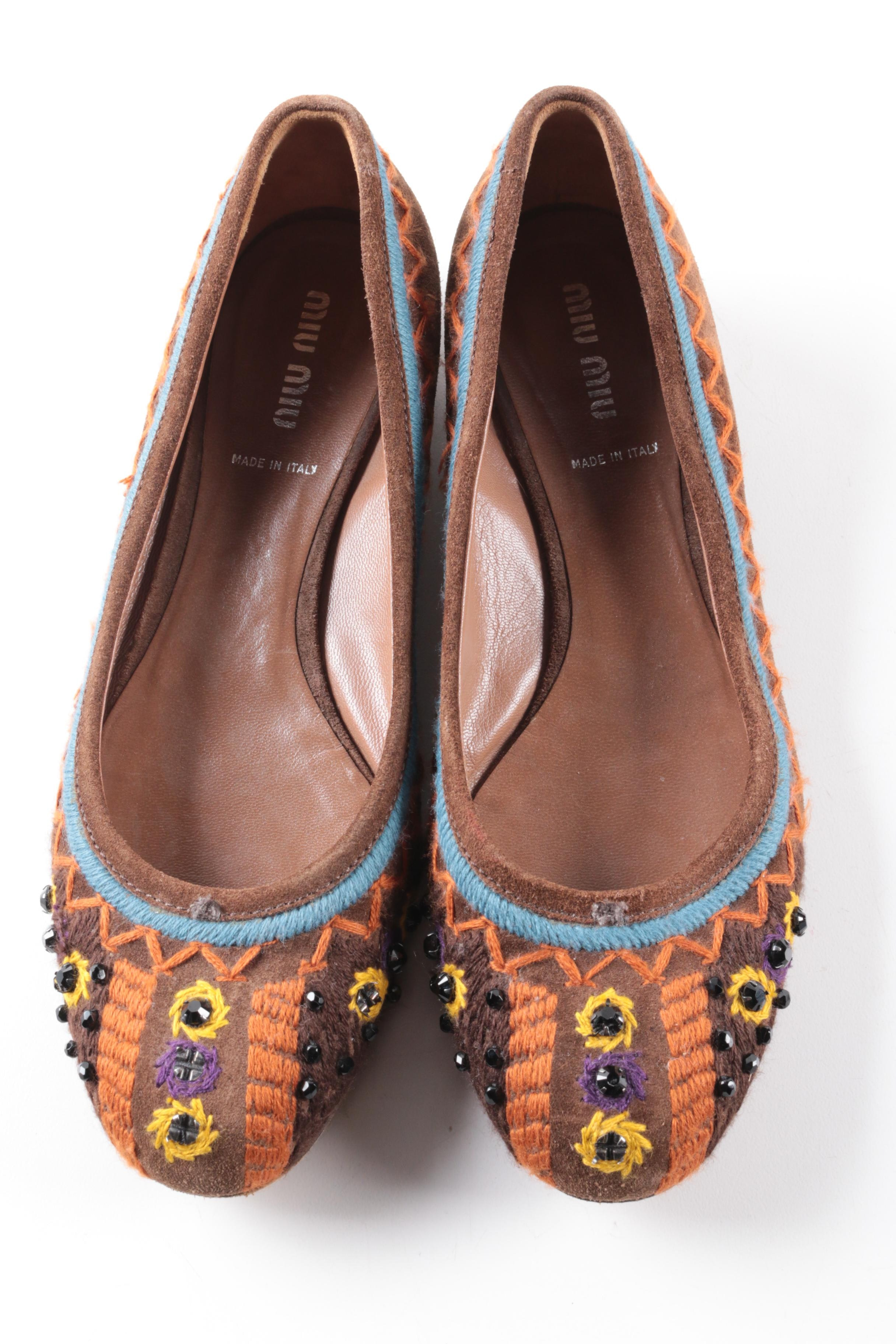 Miu Miu Embroidered and Beaded Brown Suede Flats