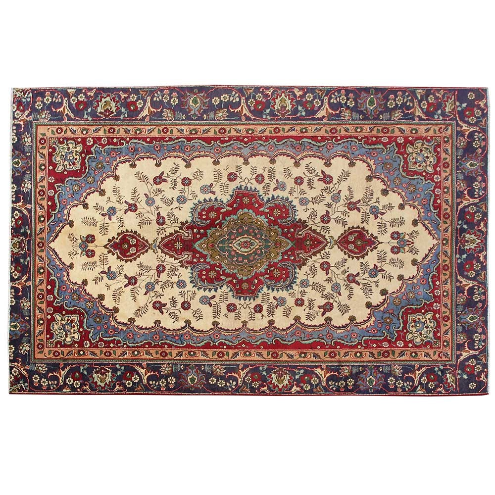 Hand-Knotted Persian Tabriz Wool Room Size Rug