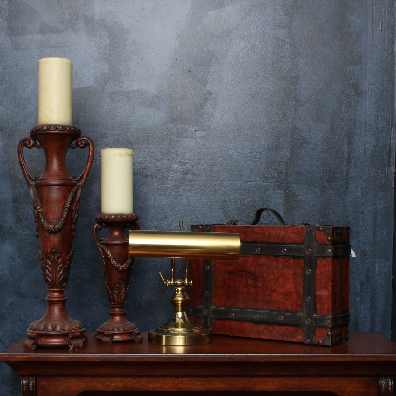 Brass Banker's Lamp, Urn Candlestick Holders, and Leather Case