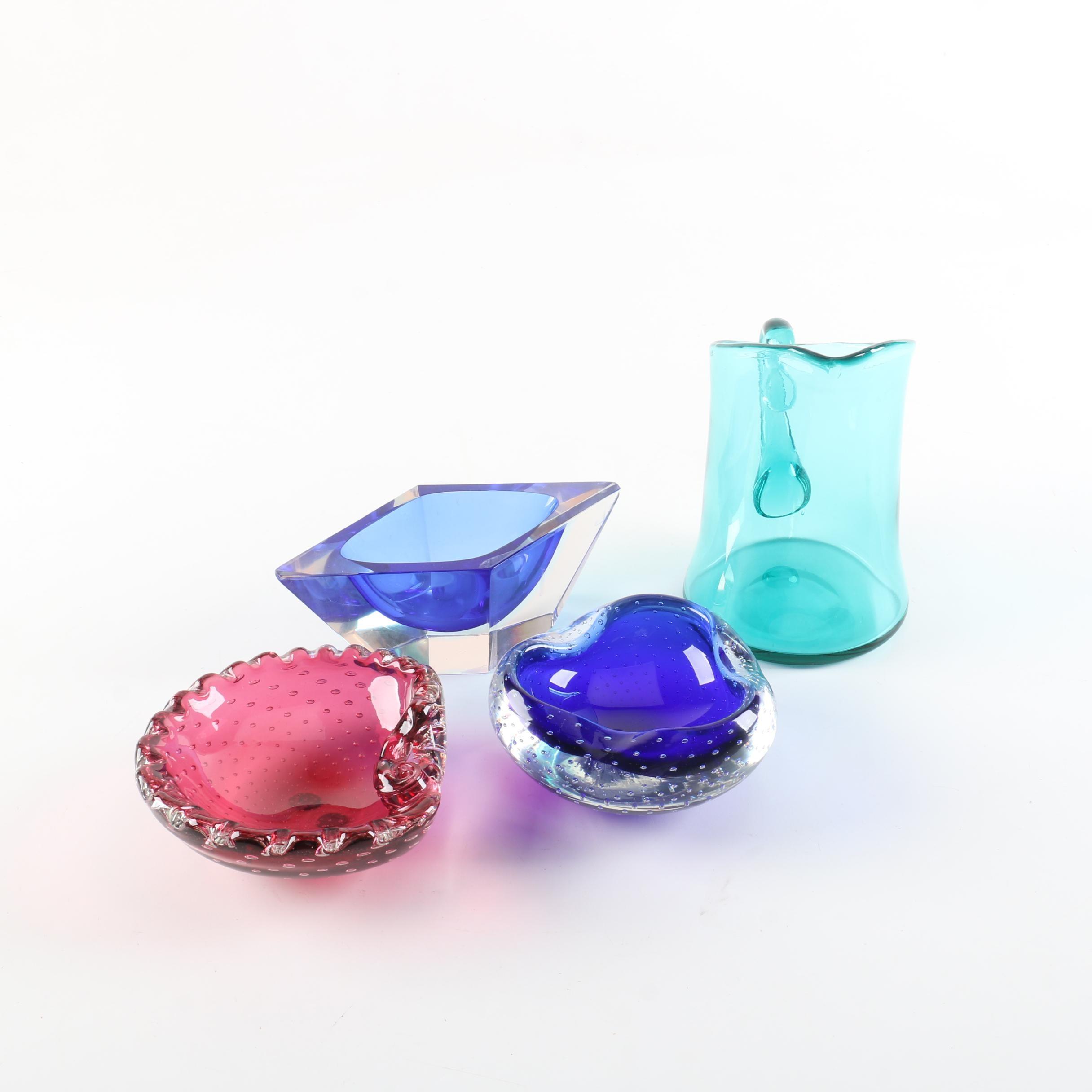 Murano Style Bullicante Art Glass Dishes