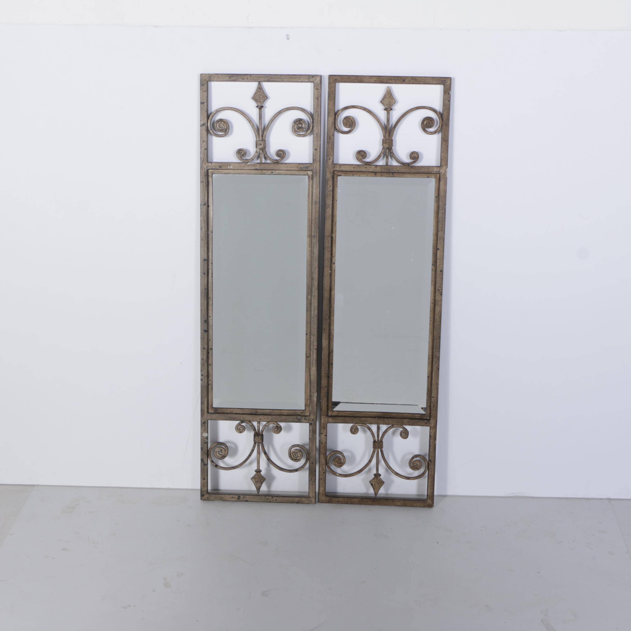 Metal Framed Fleur De Lis Motif Wall Mirrors