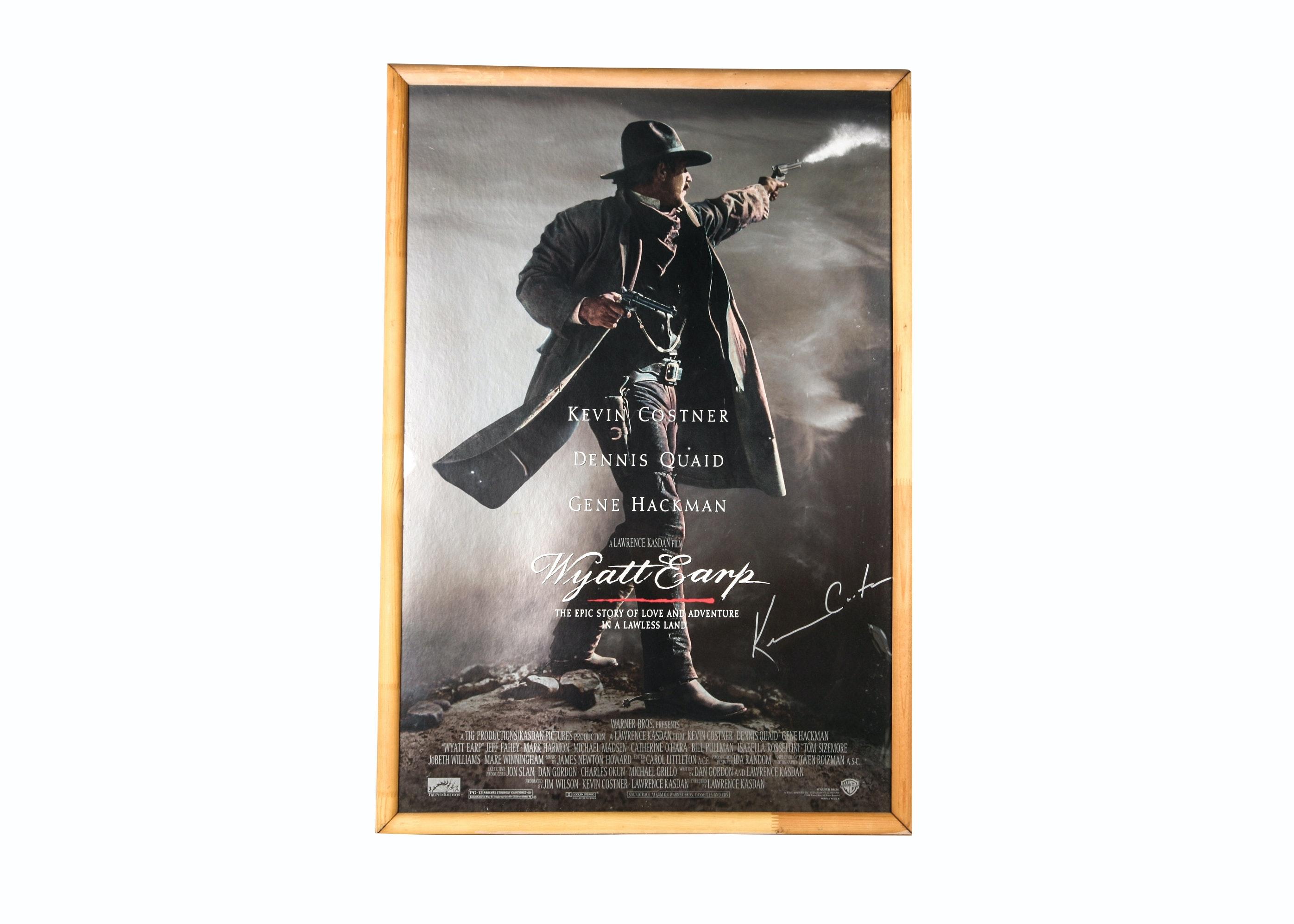 "Autographed Kevin Costner ""Wyatt Earp"" Poster"