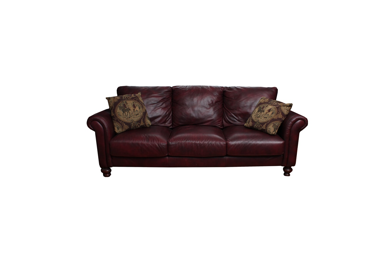 Contemporary Burgandy Bonded Leather Sofa