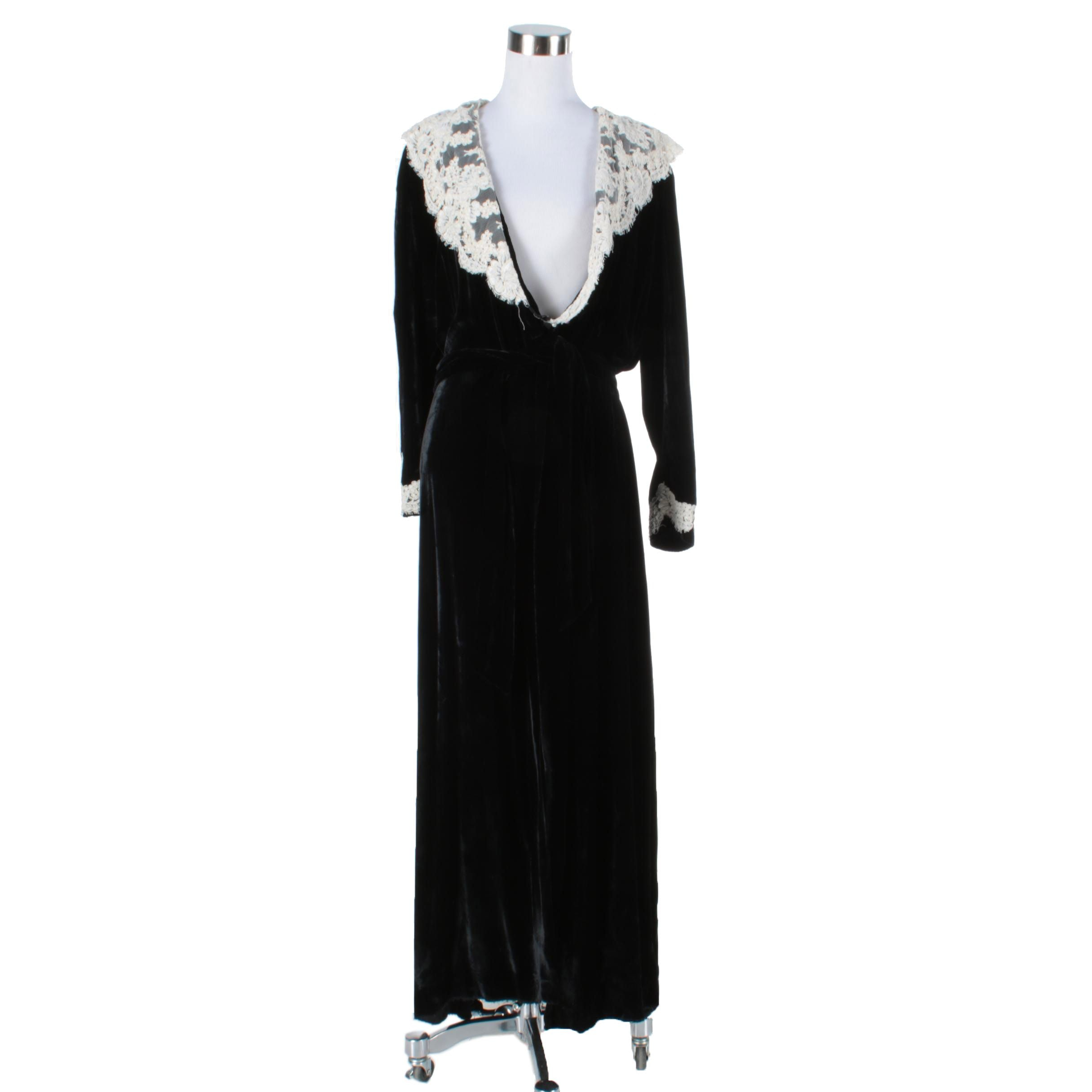 Women's Vintage Christian Dior La Connaisseur Black Velvet Dress with Lace