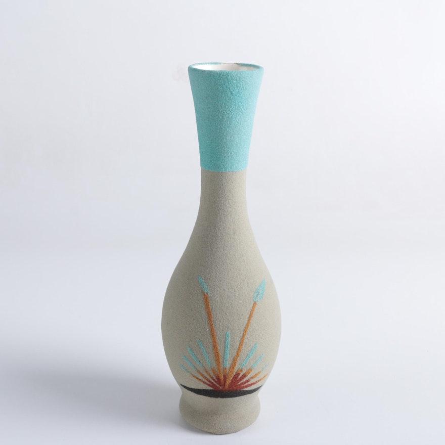 Ceramic Vase With Sand Decoration Ebth