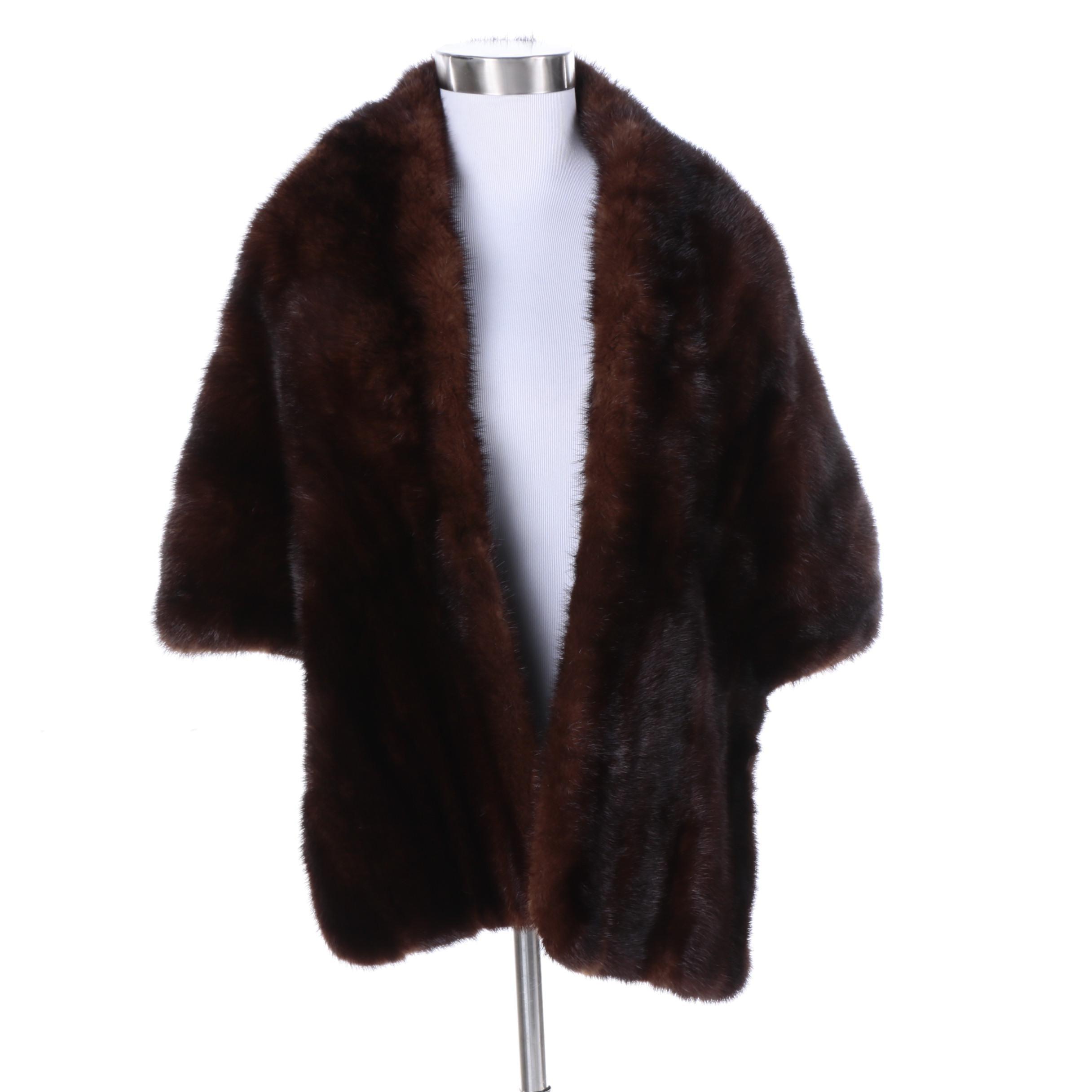 Vintage Pels Backer of Oslo Dark Mahogany Brown Mink Fur Stole