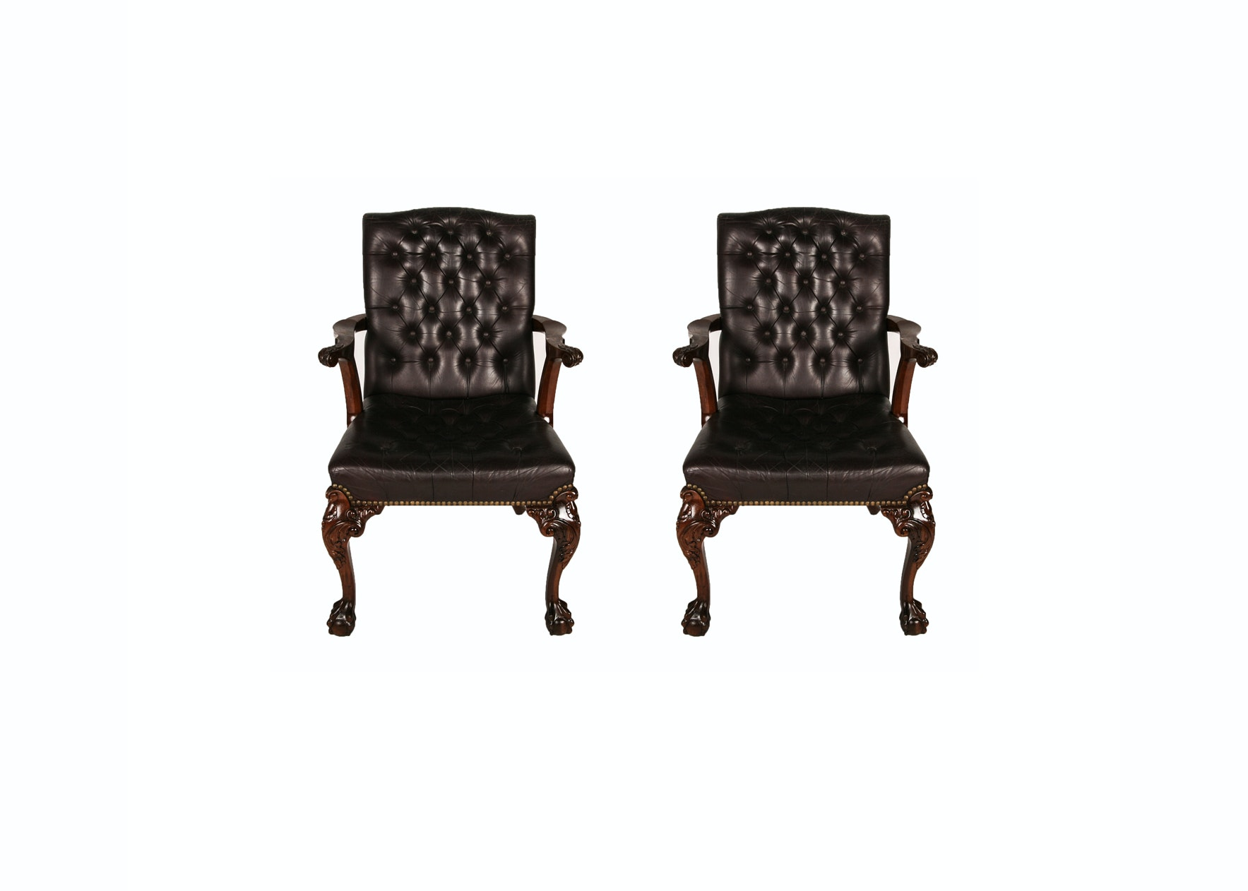 Chippendale Style Leather Chairs