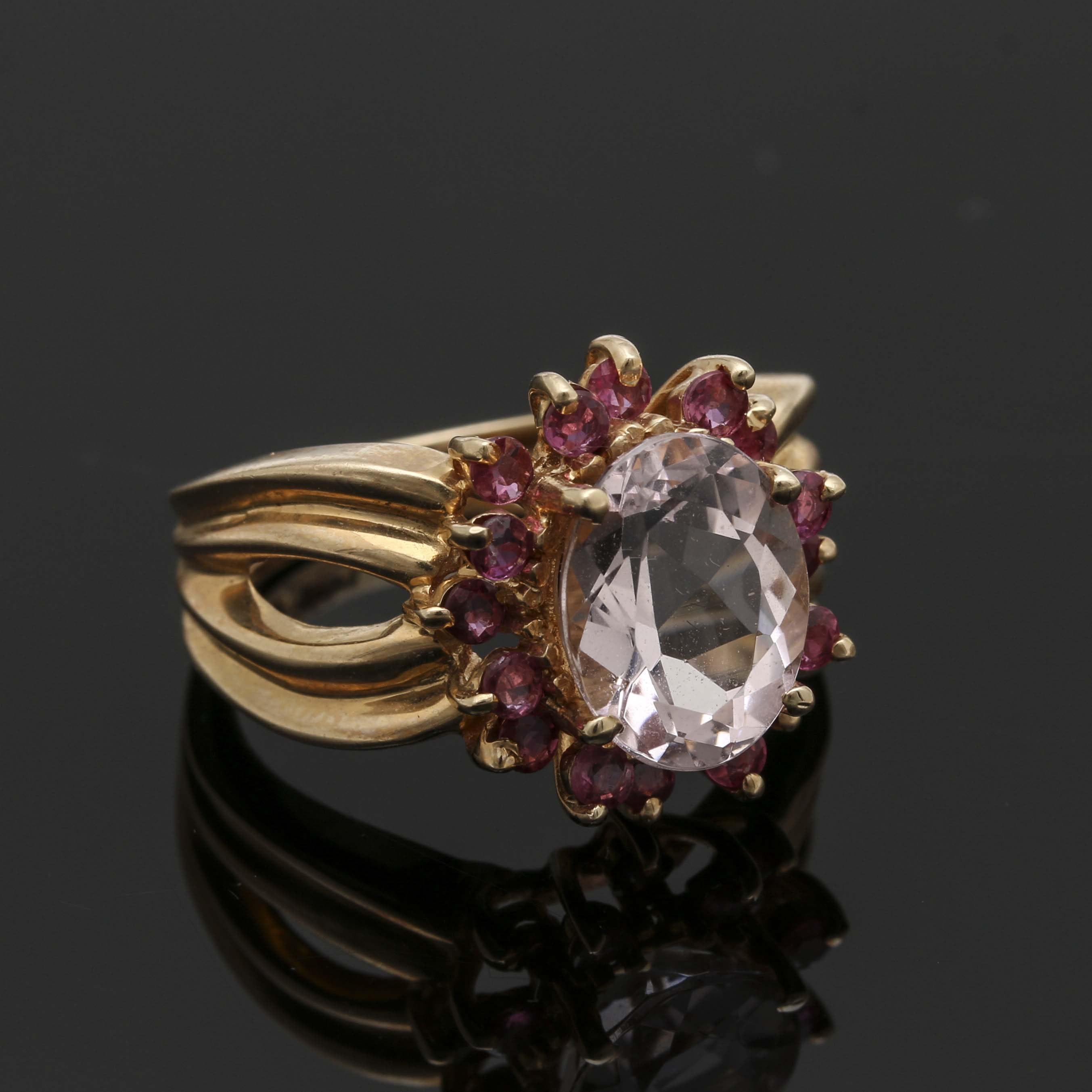 14K Yellow Gold Morganite and Ruby Ring