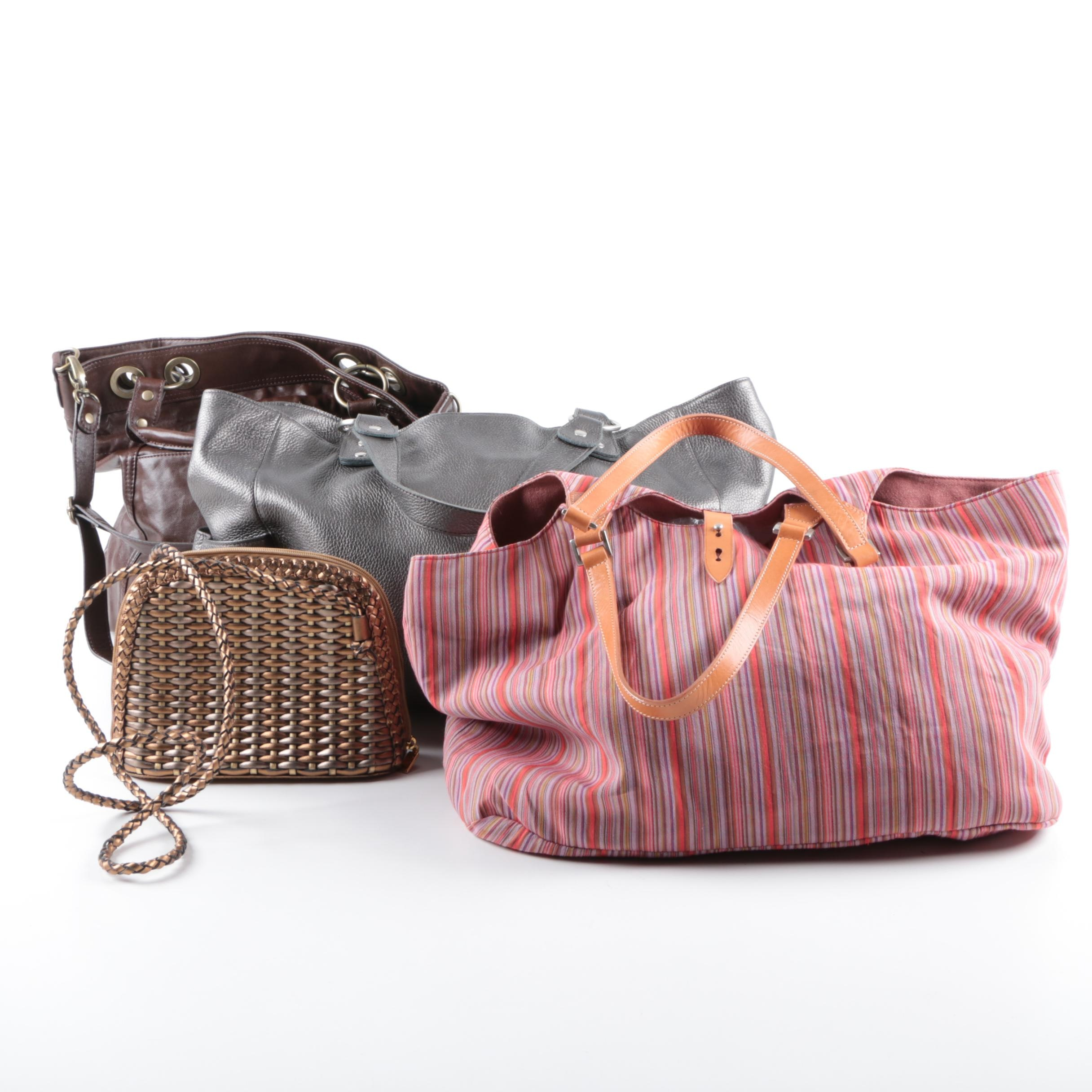 Leather and Fabric Tote Handbags and a Shoulder Bag