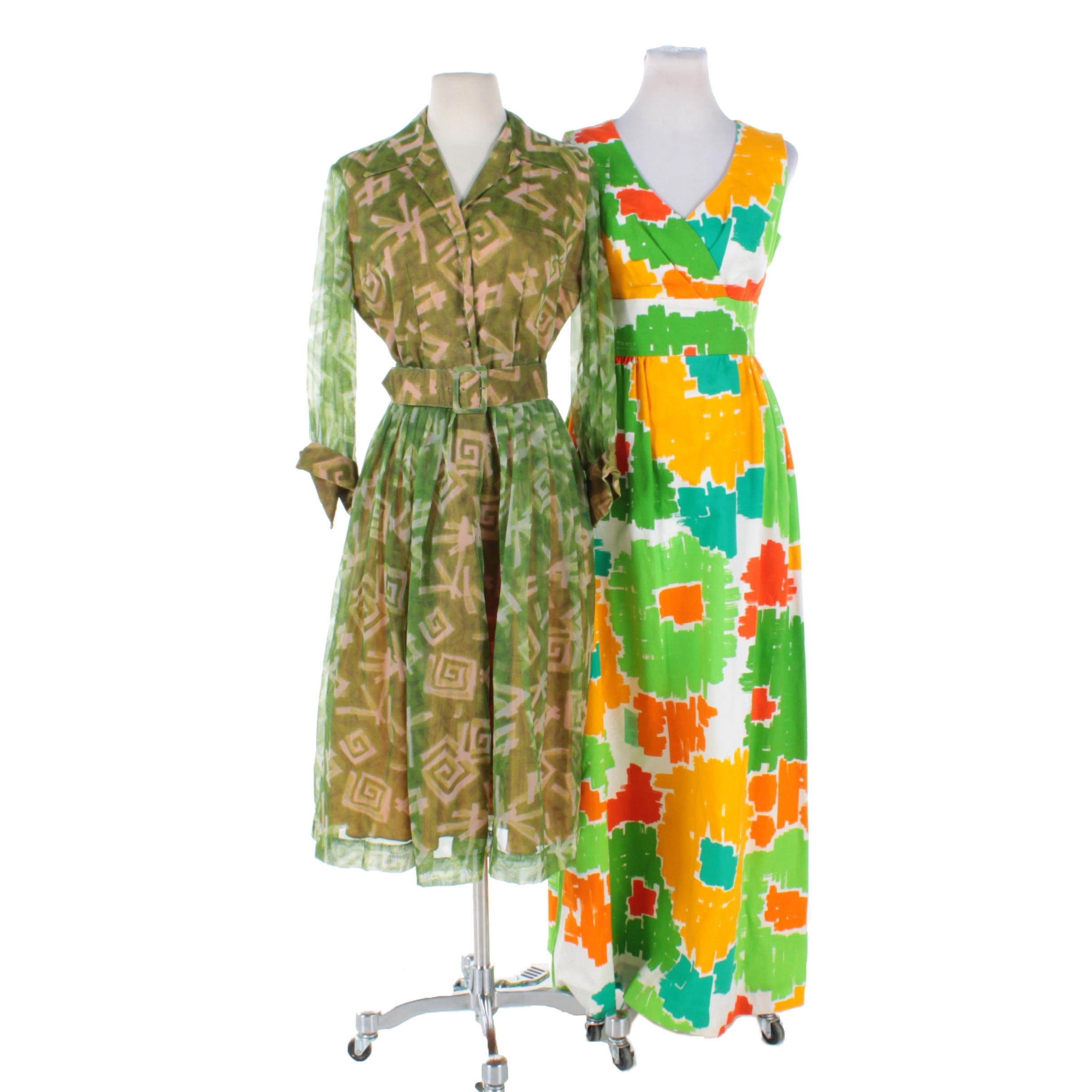 Women's Vintage Dresses Including a Malia Honolulu Floral Maxi Dress