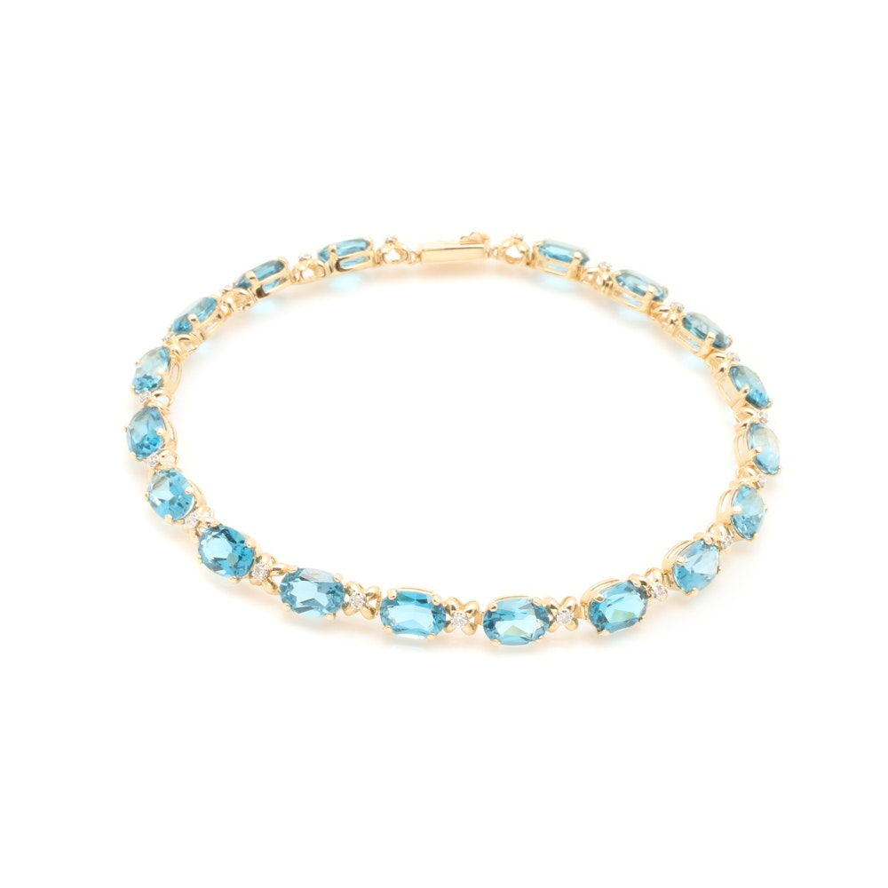 14K Yellow Gold Topaz and Diamond Bracelet