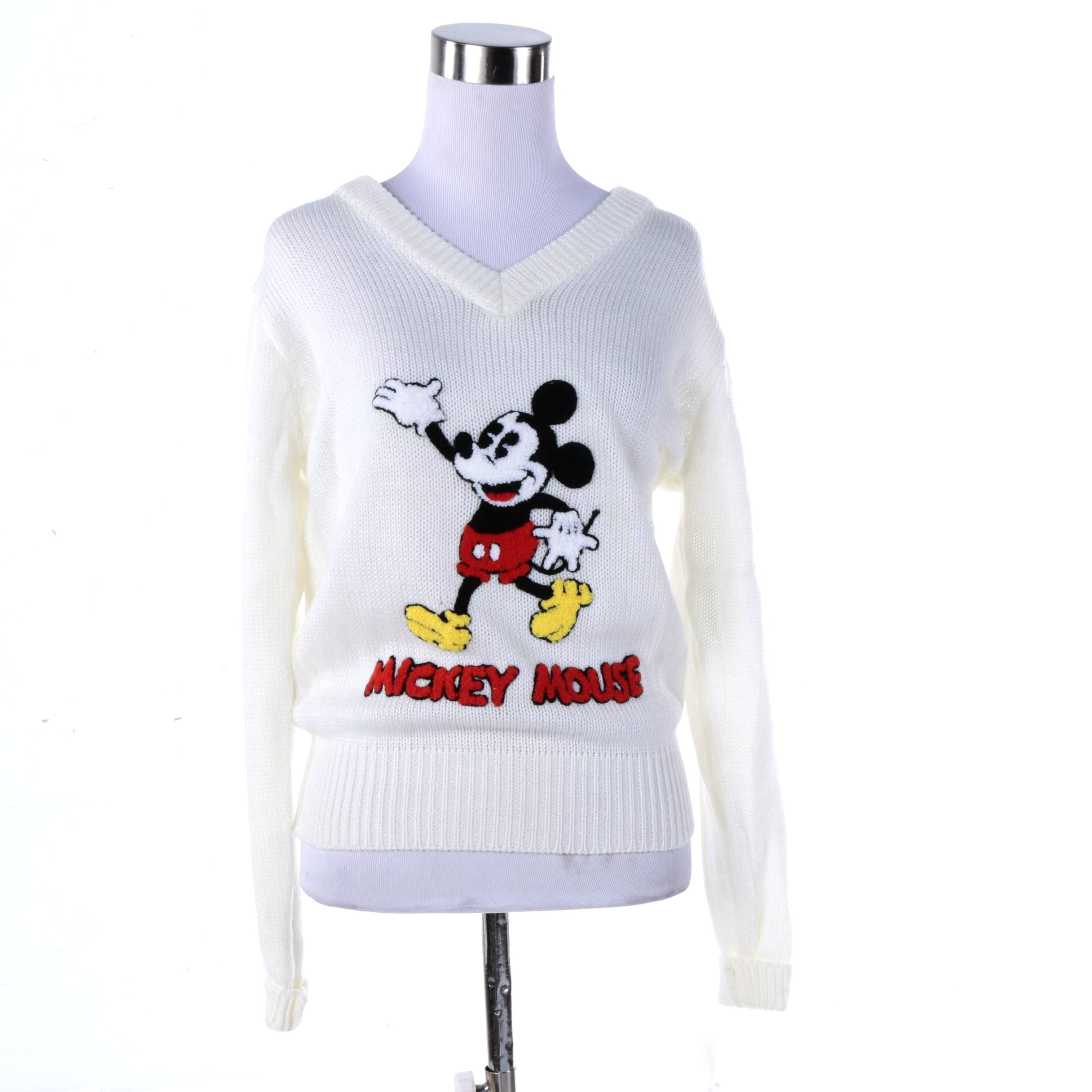 Women's Disney Character Fashions Mickey Mouse V-Neck Sweater