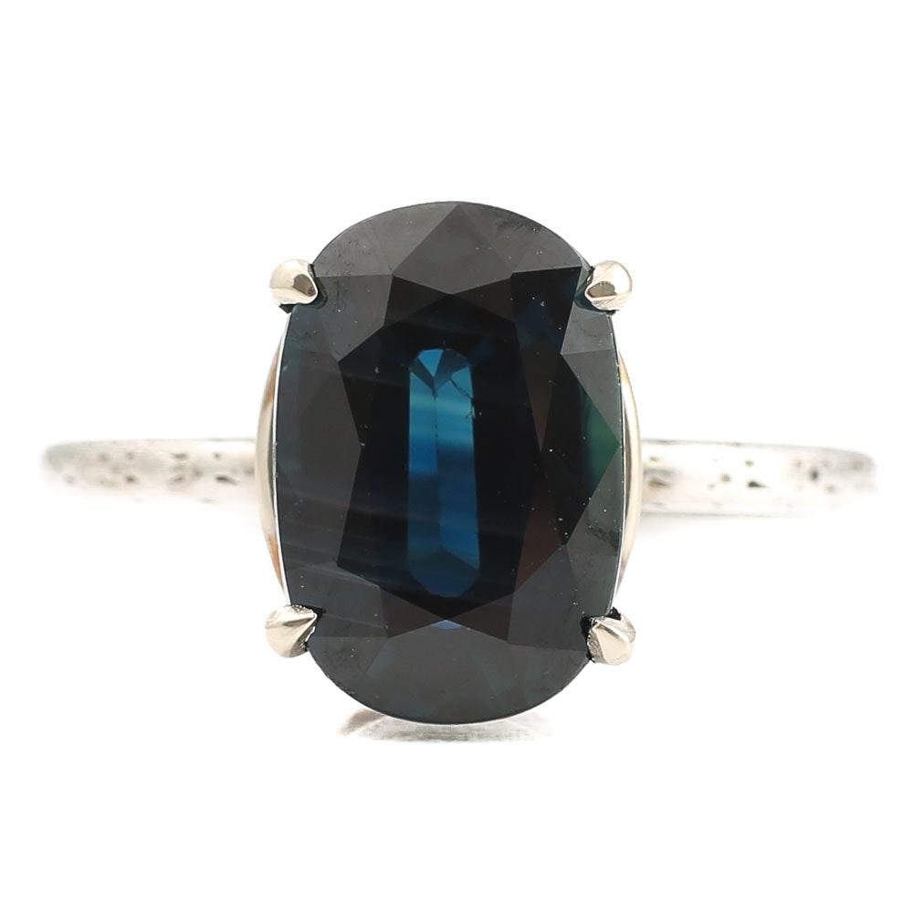 Vintage Platinum Setting 3.84 CT Sapphire Ring