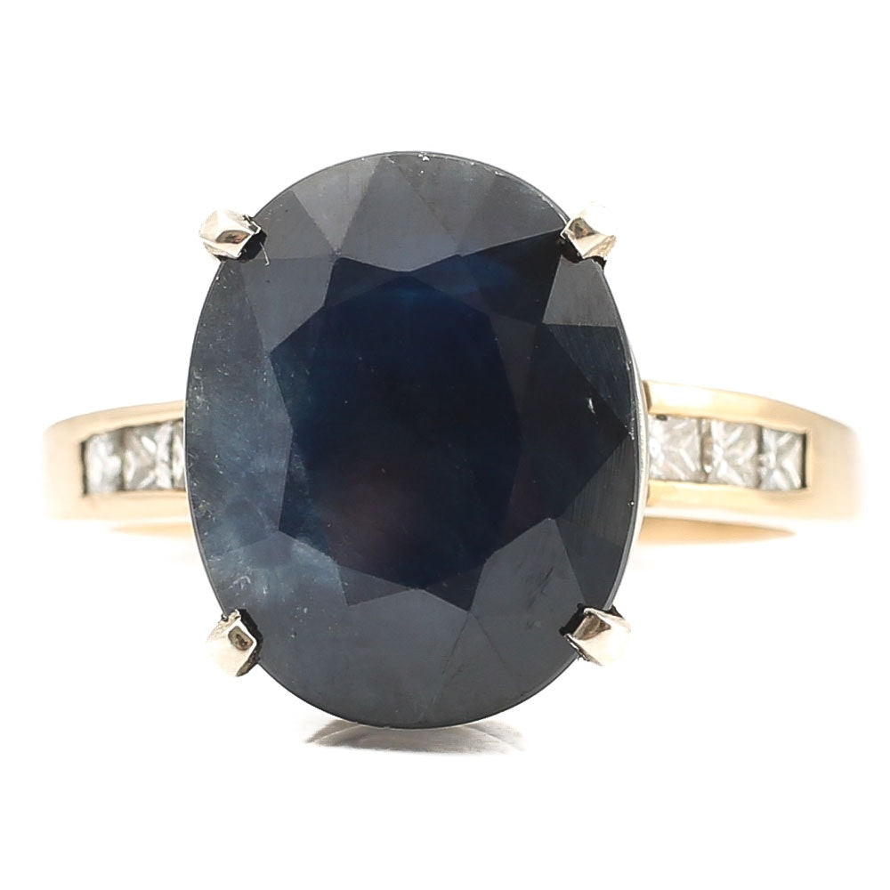 14K Yellow Gold 6.75 CT Sapphire and Diamond Ring with White Gold Prongs