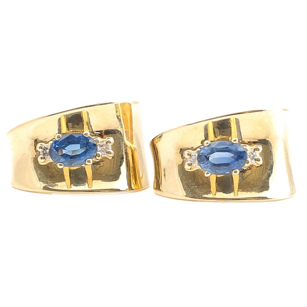 14K Yellow Gold 1.24 CTW Sapphire and Diamond Earrings