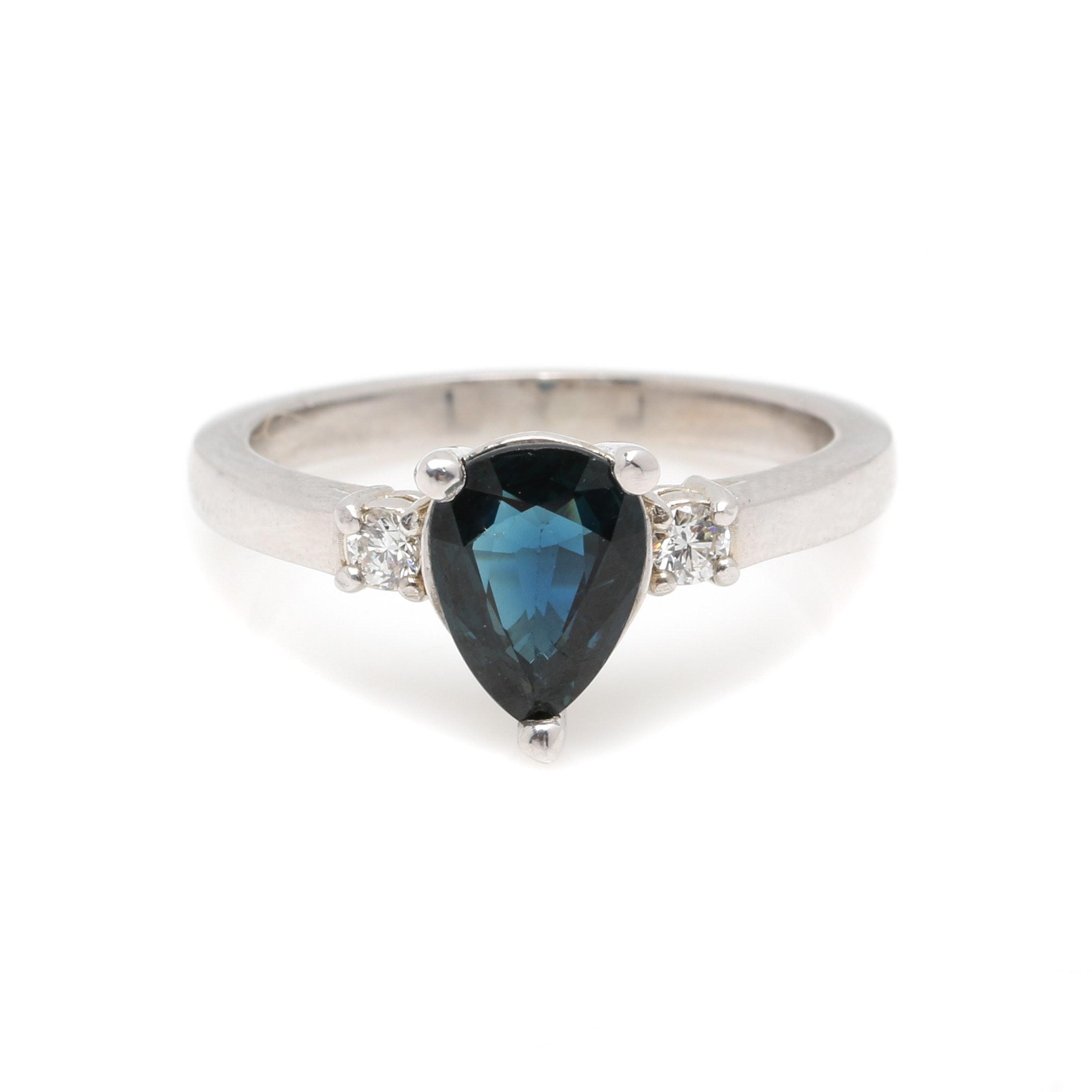 14K White Gold 1.24 CT Sapphire and Diamond Ring