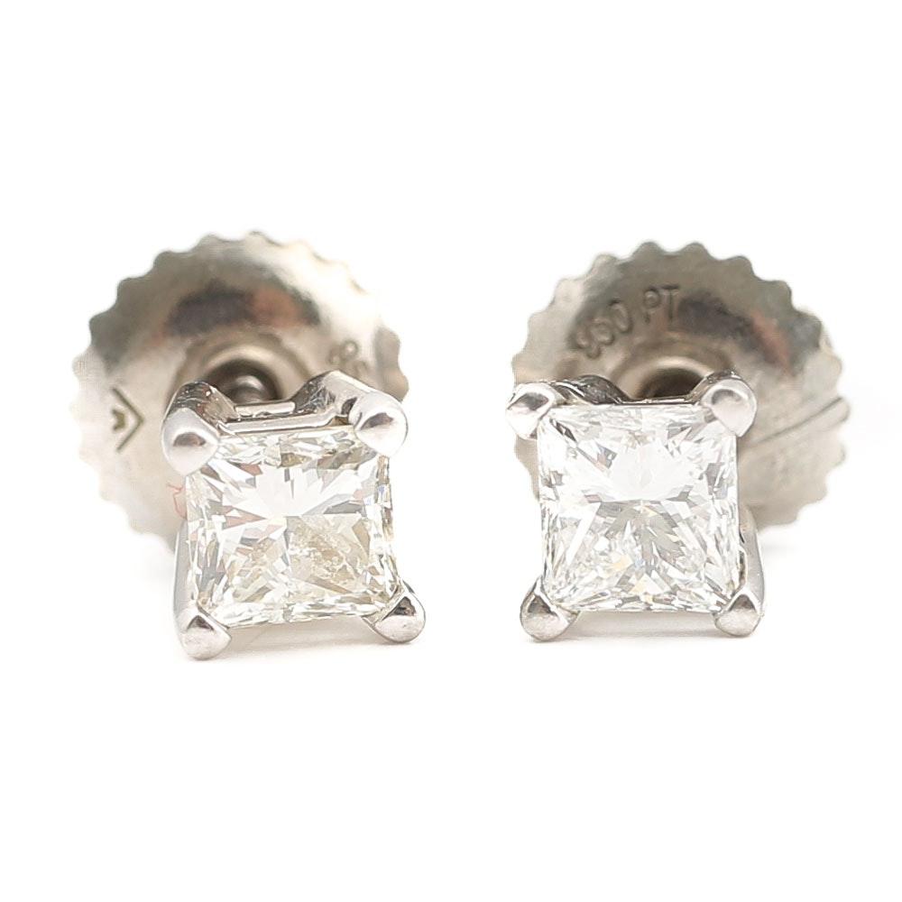 Platinum Princess Cut Diamond Earrings