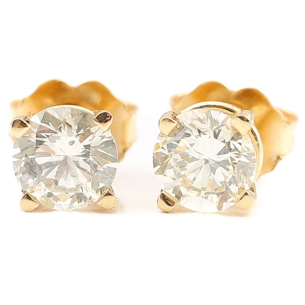 14K Yellow Gold 1.00 CTW Diamond Stud Earrings