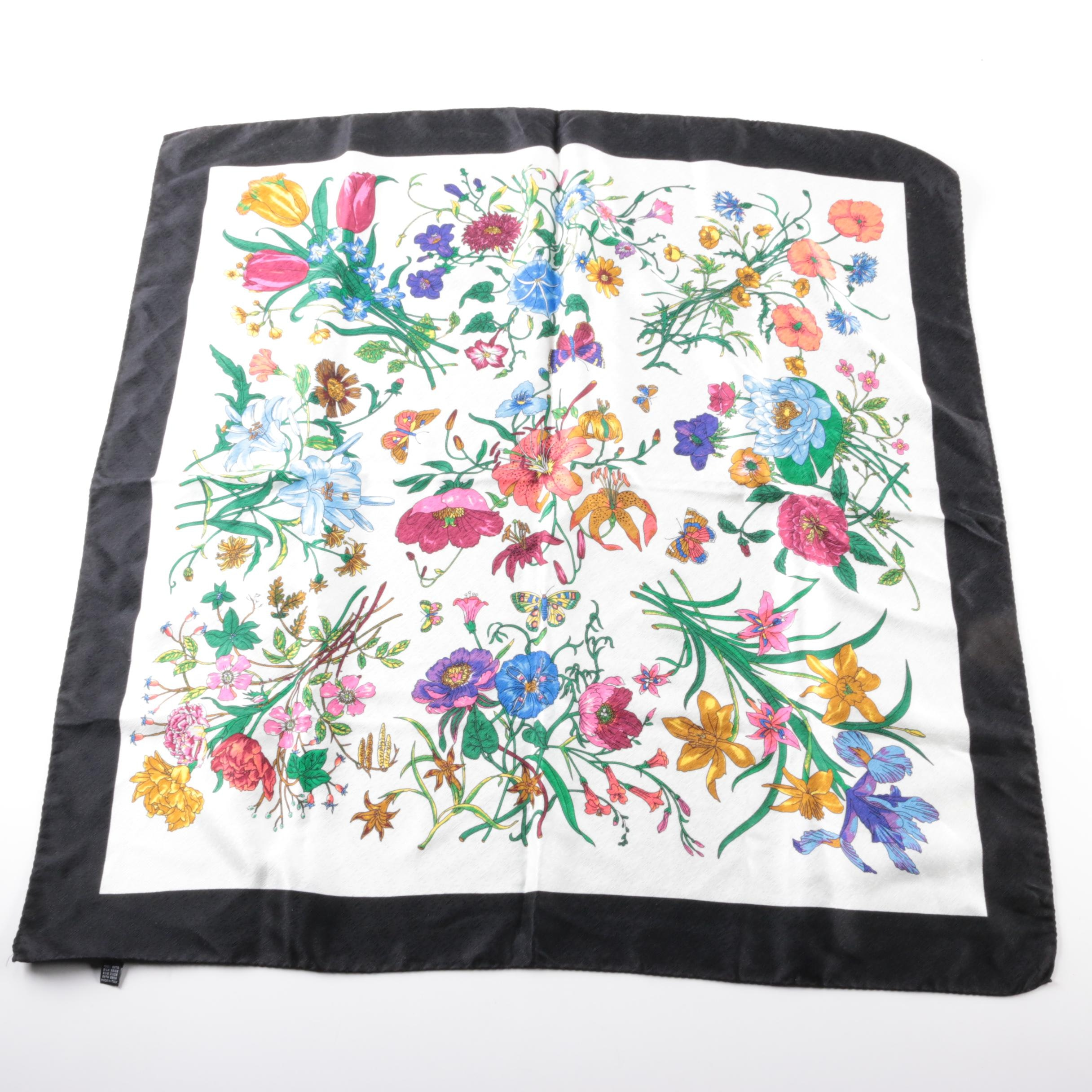 Vintage Italian Botanical Print Silk Scarf