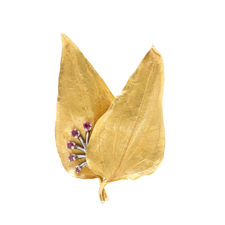 14K Yellow Gold Ruby Leaf Brooch