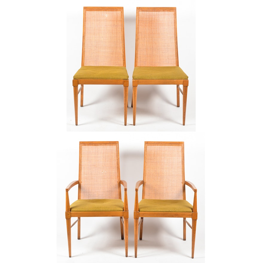 Terrific Four Mid Century Modern Cane Back Walnut Dining Chairs By Lane Download Free Architecture Designs Aeocymadebymaigaardcom