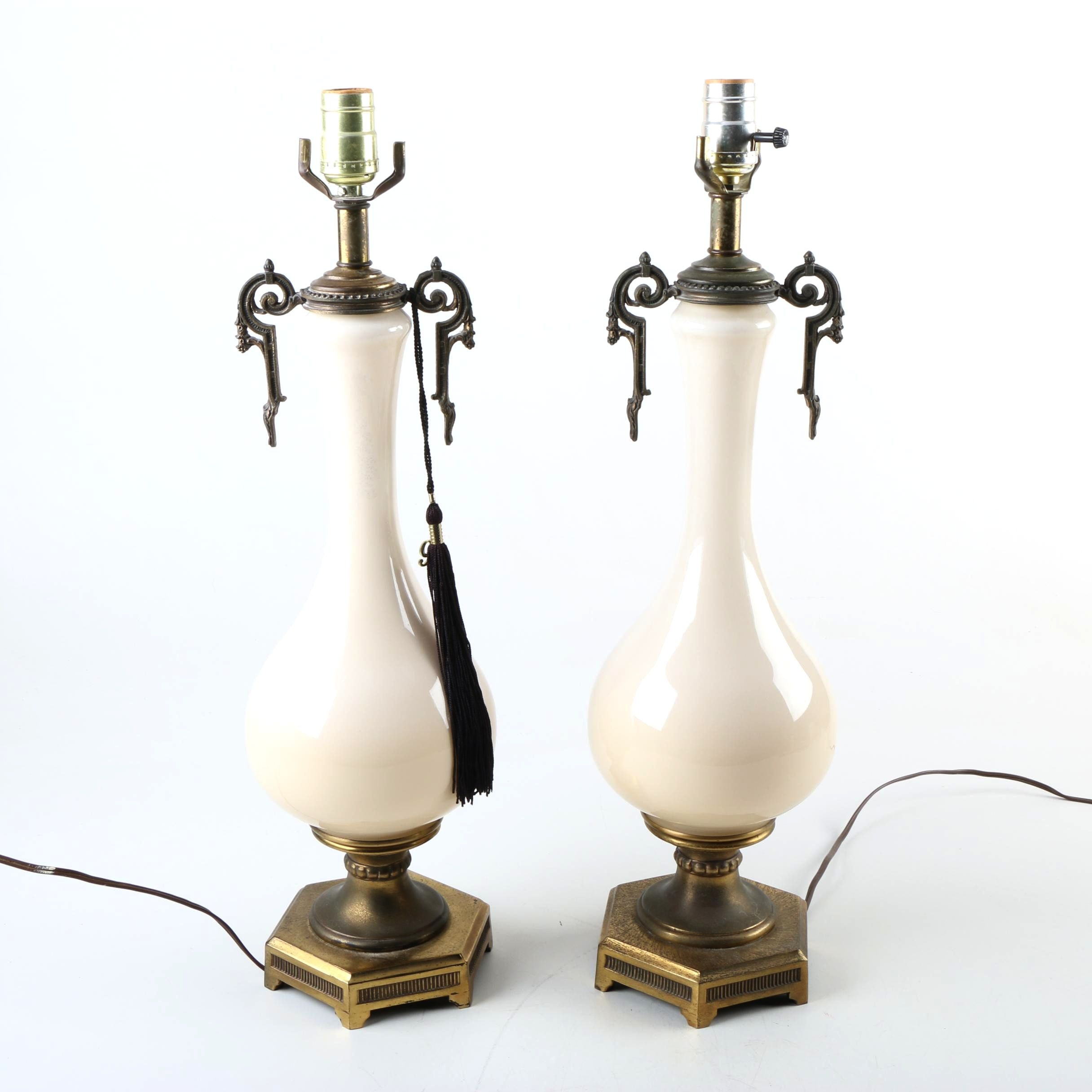 Neoclassical Style Ceramic and Brass Table Lamps
