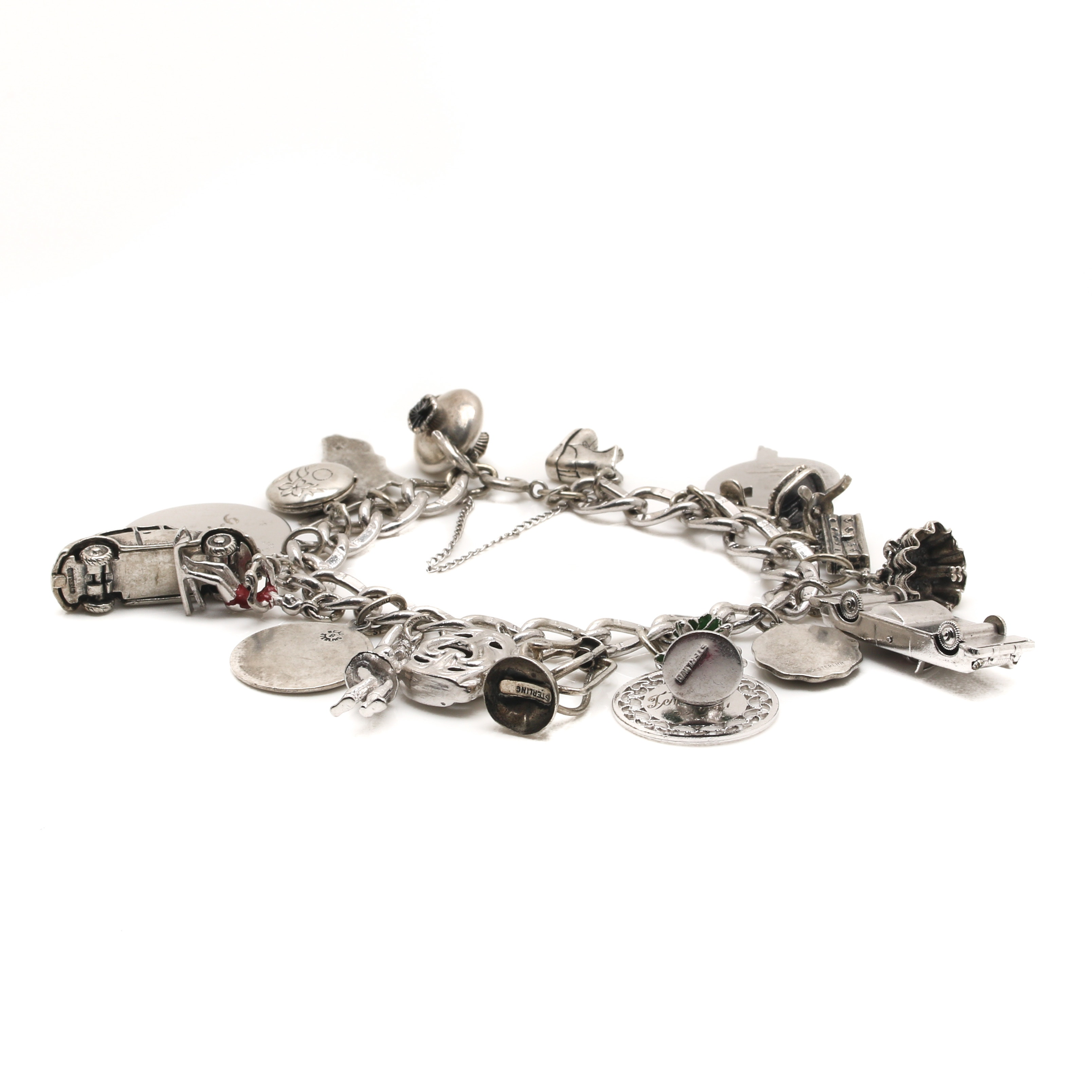 Sterling Silver Charm Bracelet With Multiple Charms