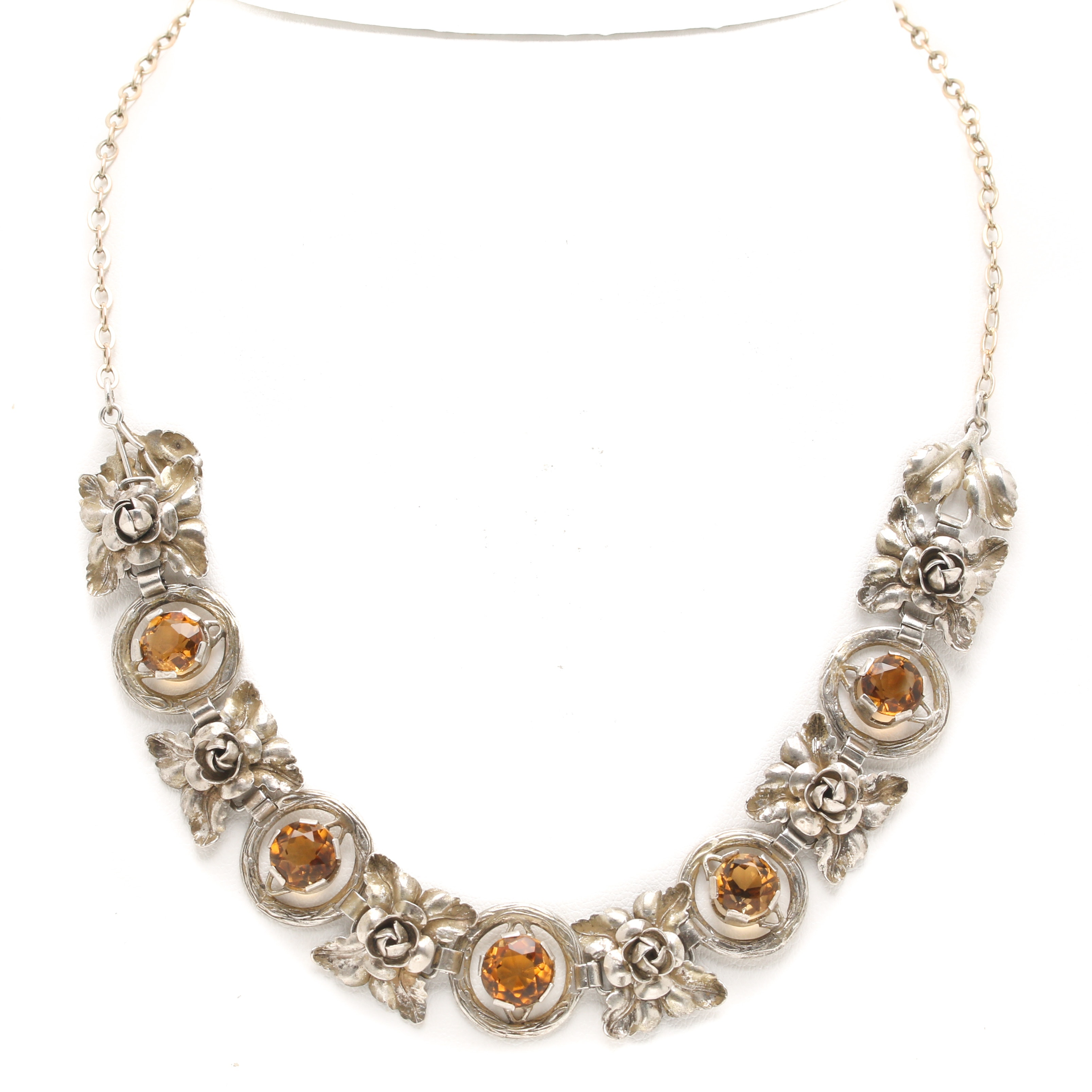 German Made Sterling Silver Citrine Necklace