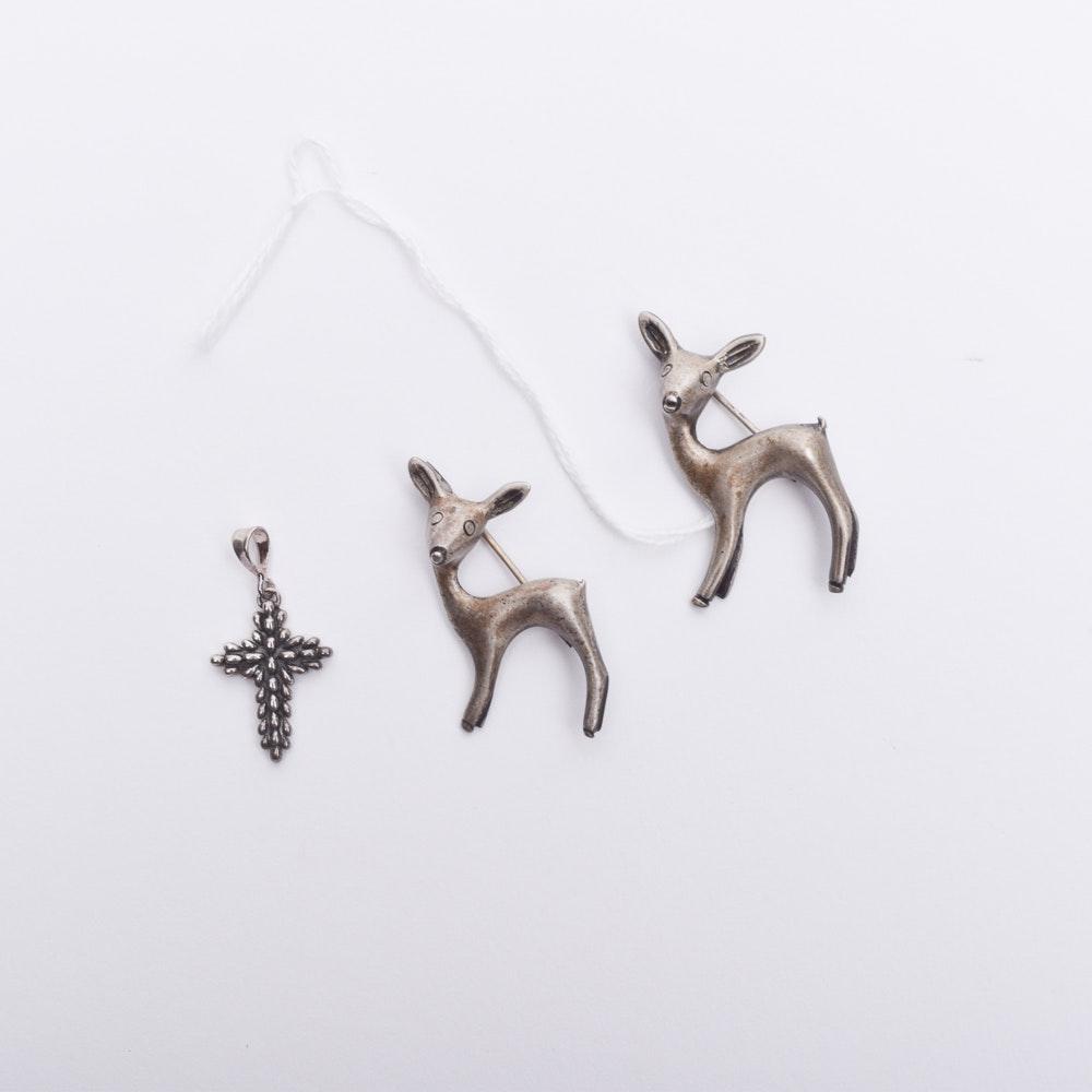 Sterling Silver Deer Pins and Cross